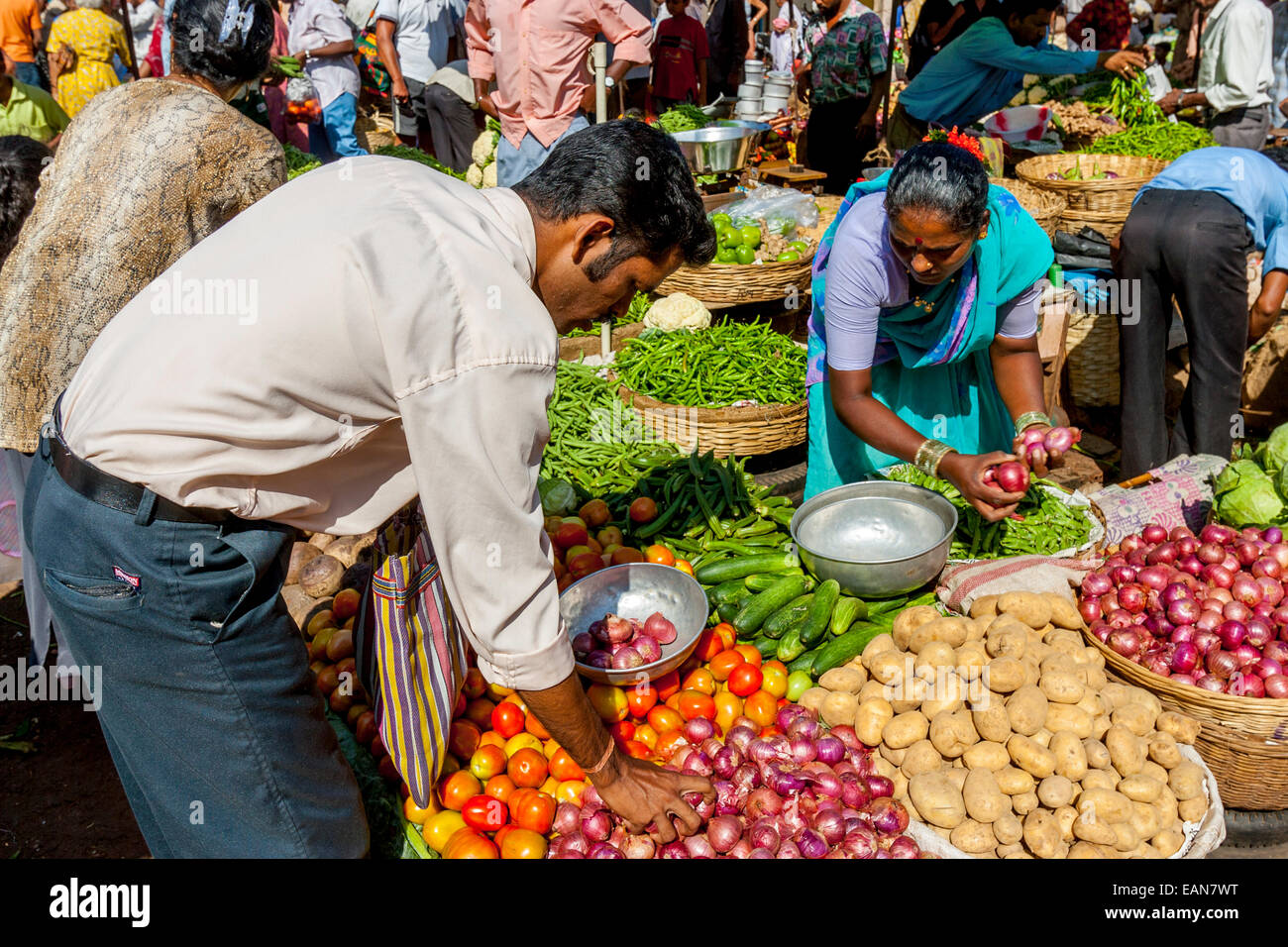 Vegetables For Sale Mapusa Friday Market Goa India Stock Photo