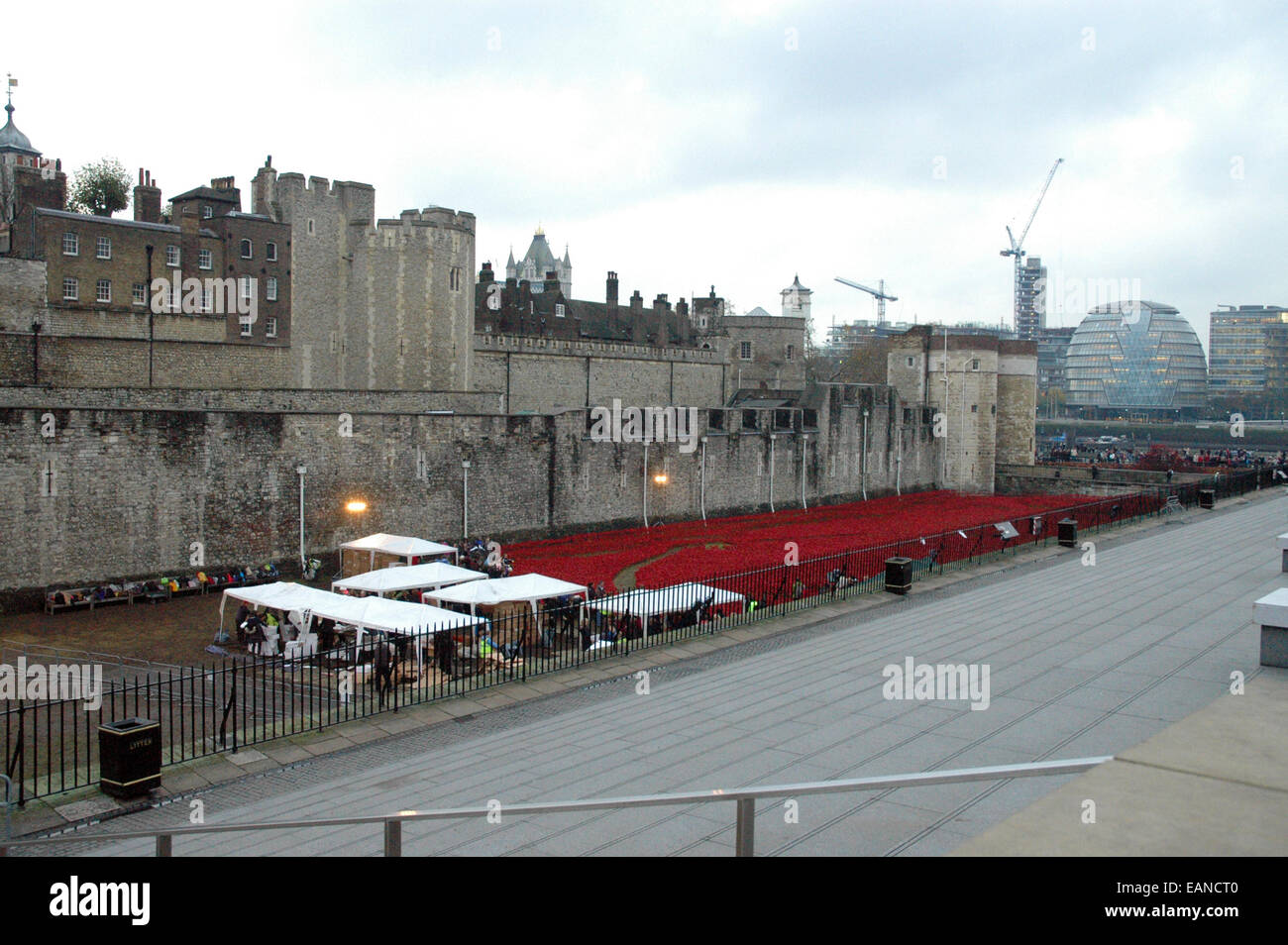 London UK Th Nov Poppies Removal Progresses At Tower Of - Tower of london river of poppies