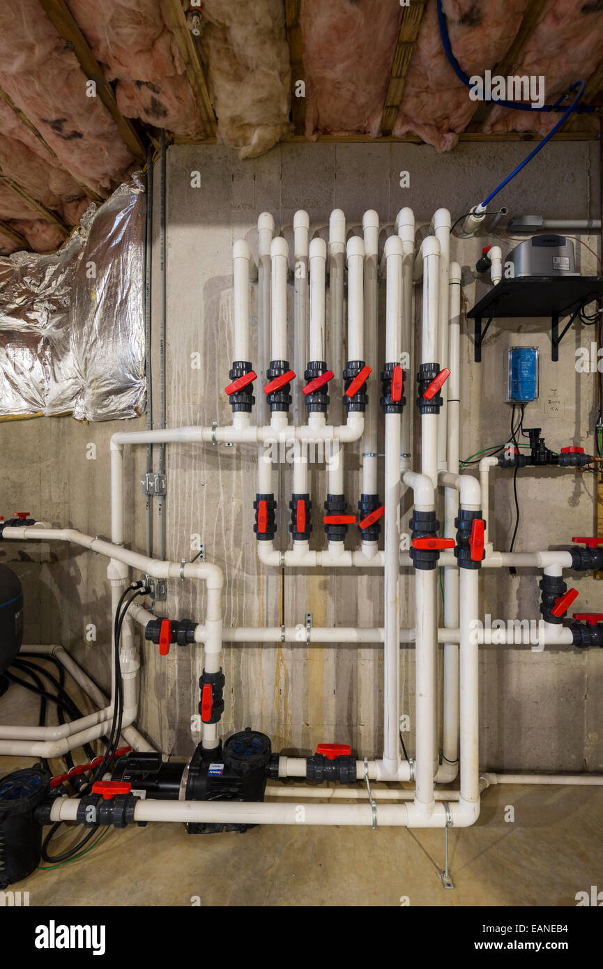 Pvc pipe plumbing system in new home construction stock