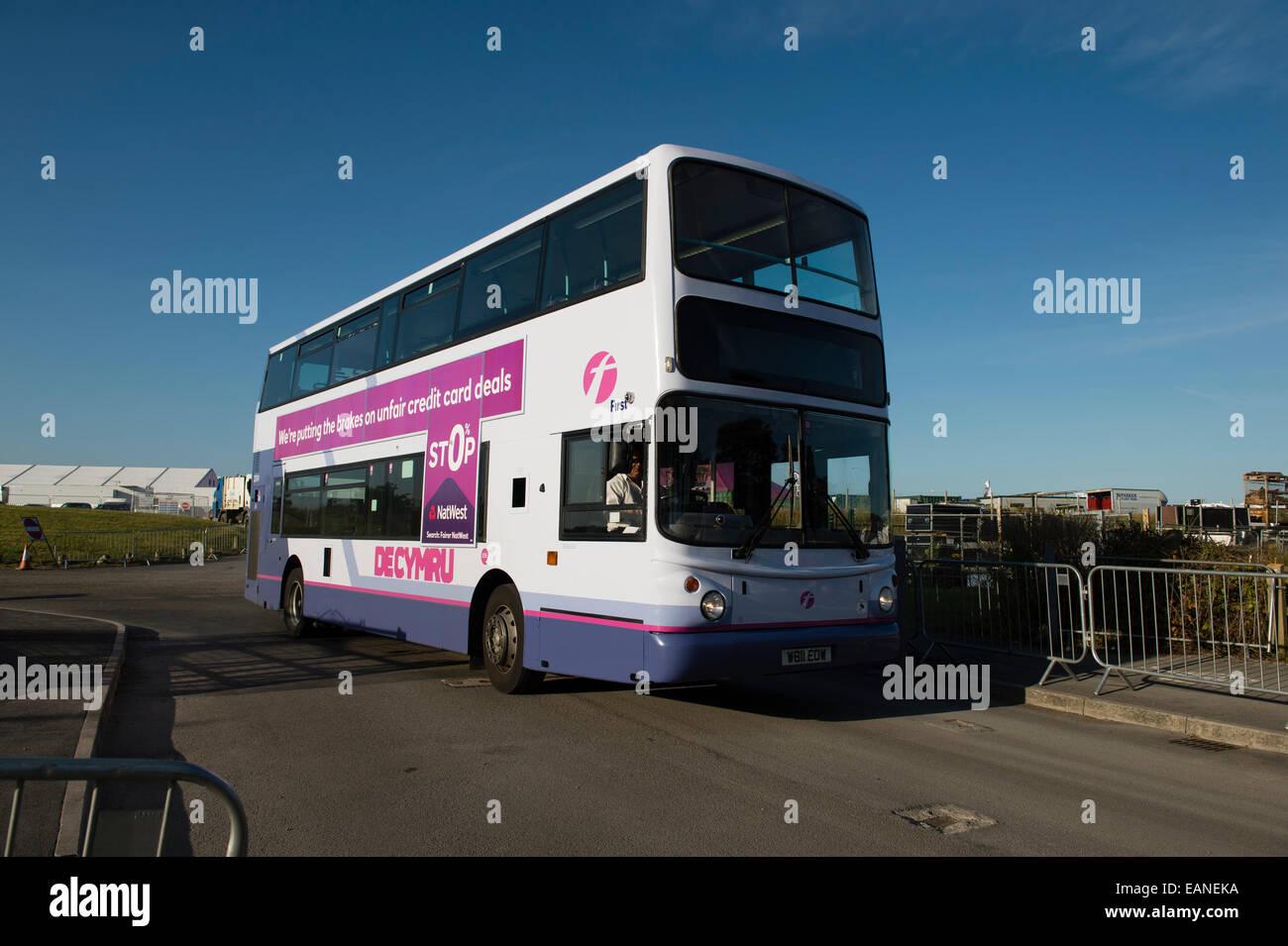 a double decker first south wales shuttle bus at the national a double decker first south wales shuttle bus at the national eisteddfod of wales llanelli 2014