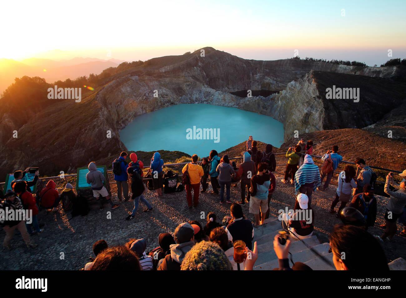 Crowd Watching Sunrise At Kelimutu Volcano In Flores