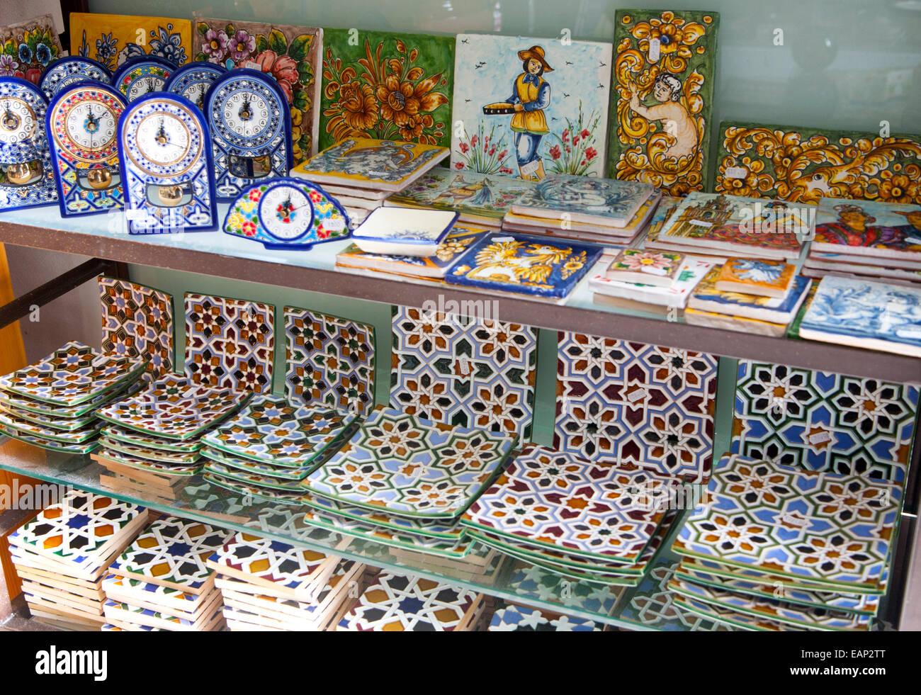 Ceramic tile shops in Triana, Seville, Spain Stock Photo, Royalty ...