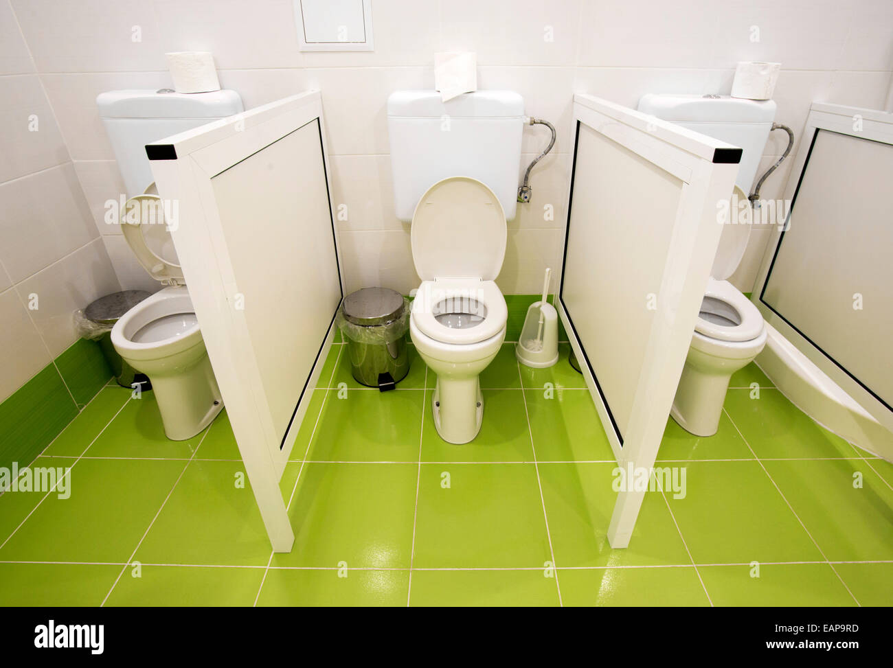 Small Toilets For Kids In A Kindergarten Stock