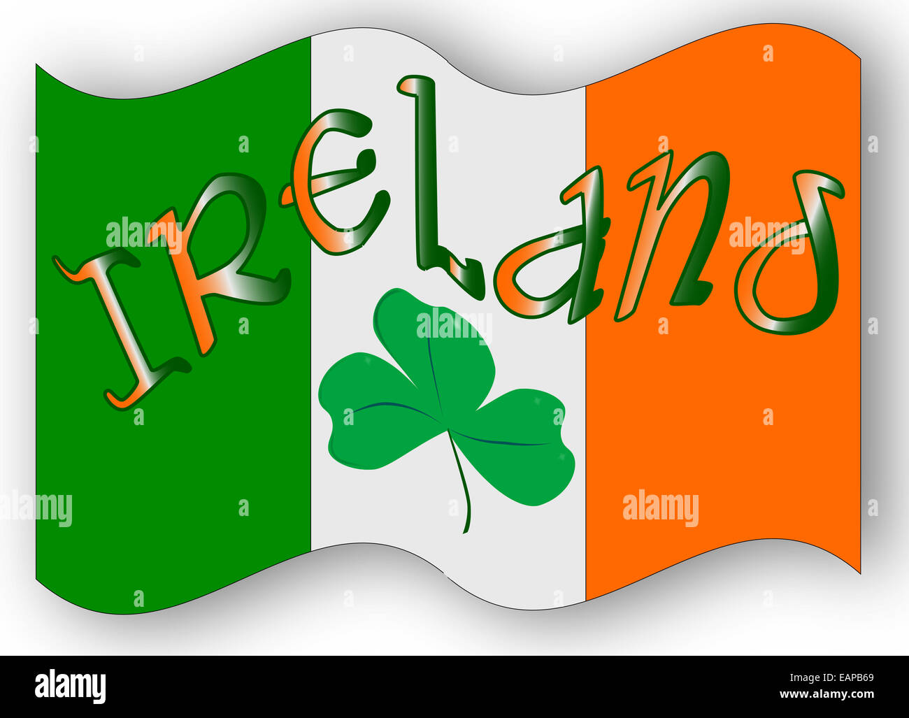the republic of ireland flag with the text ireland and a lucky