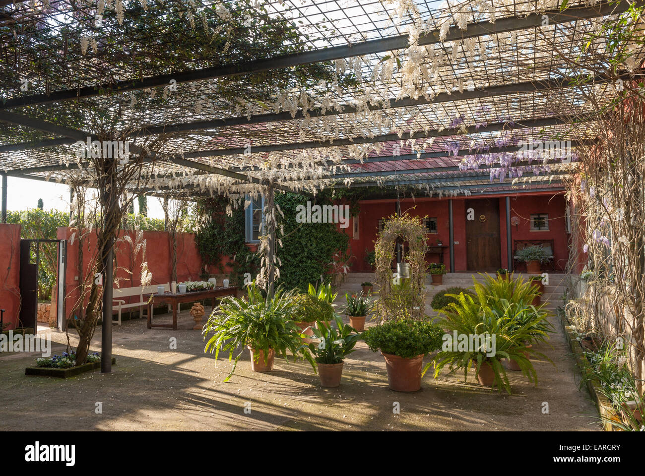 Mallorcan Pergola For Plant Room Covered By Wisteria Shade