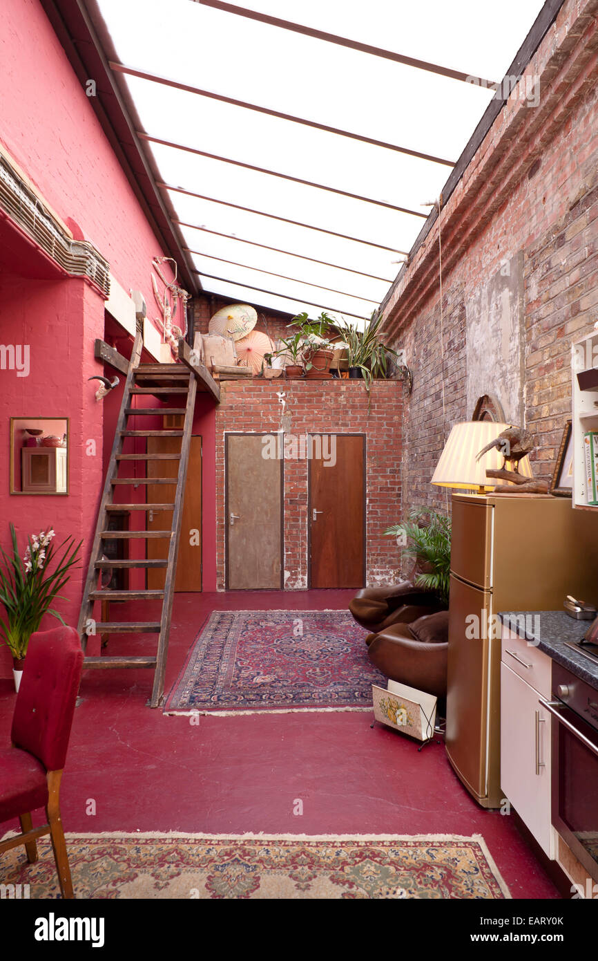 Pink Hallway With Glass Roof, Dalston Eclectic Taxidermy Warehouse And  Locations Studio In East London