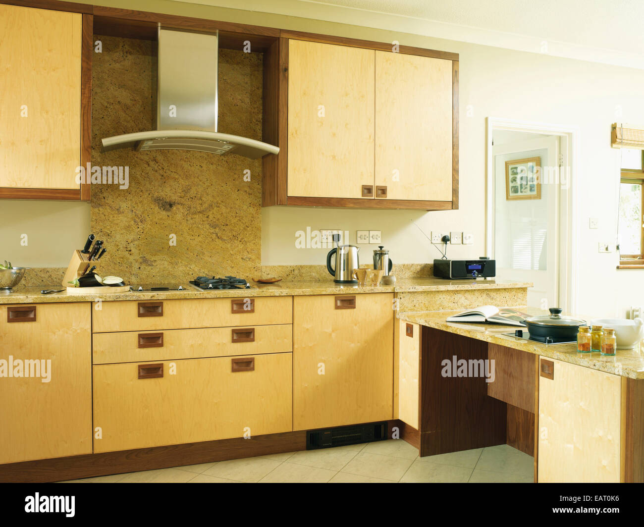 Kitchen Hob And Hood ~ Cooker hood above hob in contemporary kitchen stock photo
