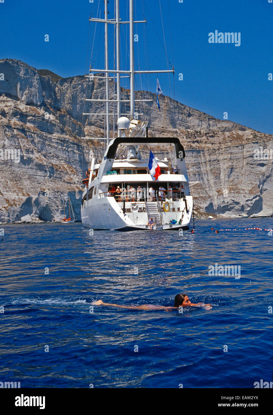 Small Cruise Ship Le Ponant Passengers Swimming Off Coast Of - Small mediterranean cruise ships