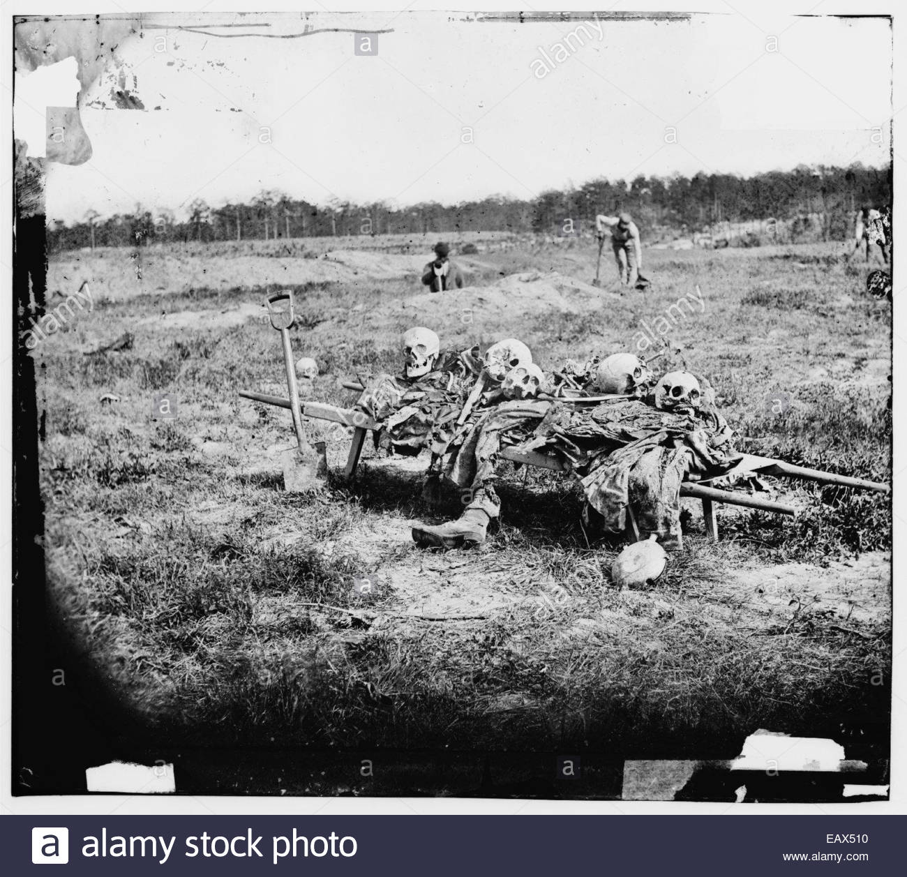 An American Civil War photograph of men collecting remains of dead