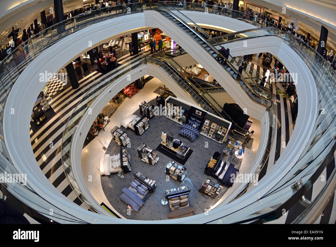 a fisheye lens interior view of 3 floors of bloomingdales at stock photo royalty free image. Black Bedroom Furniture Sets. Home Design Ideas