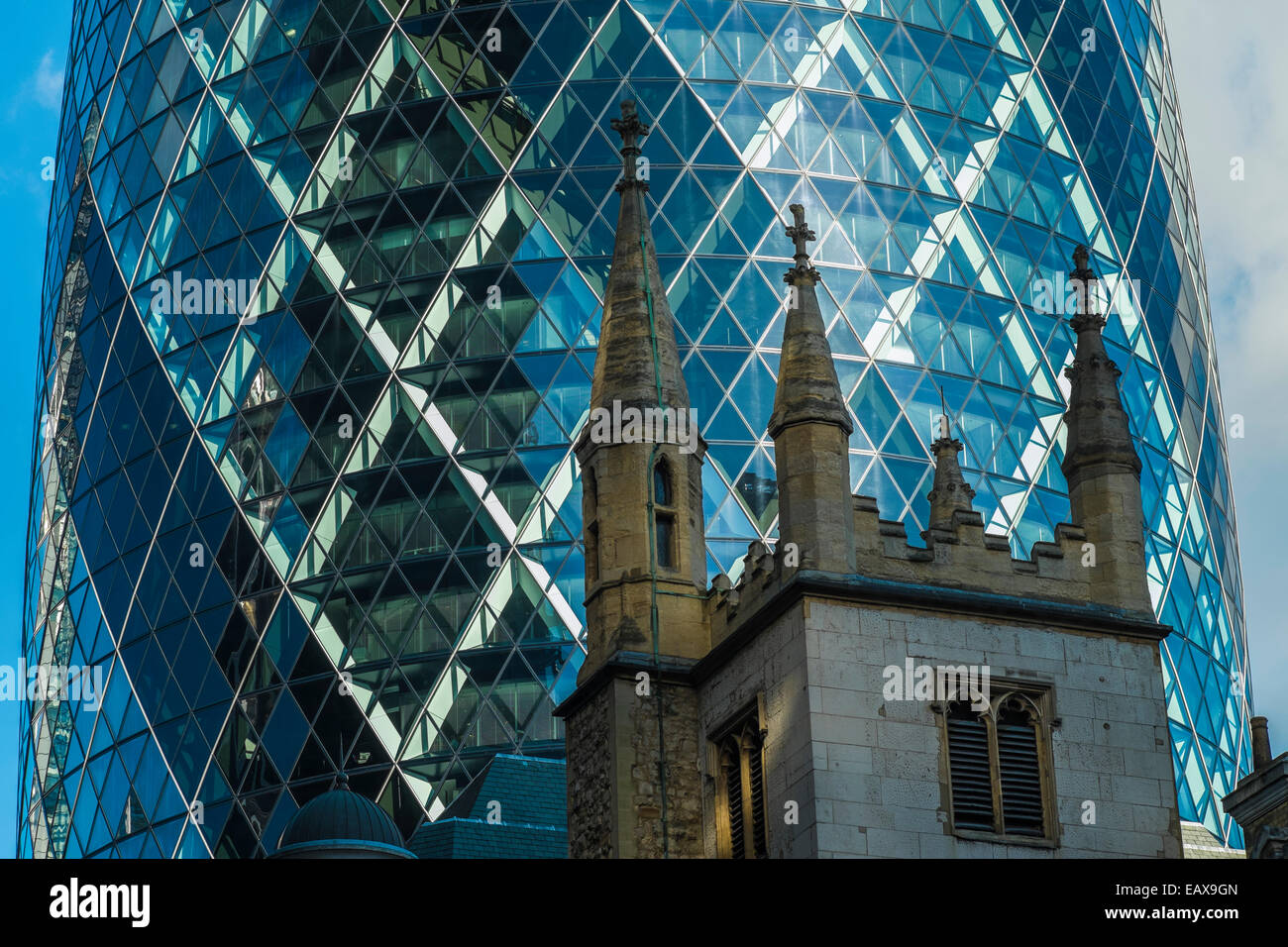 details of the gherkin building st mary axe in central london