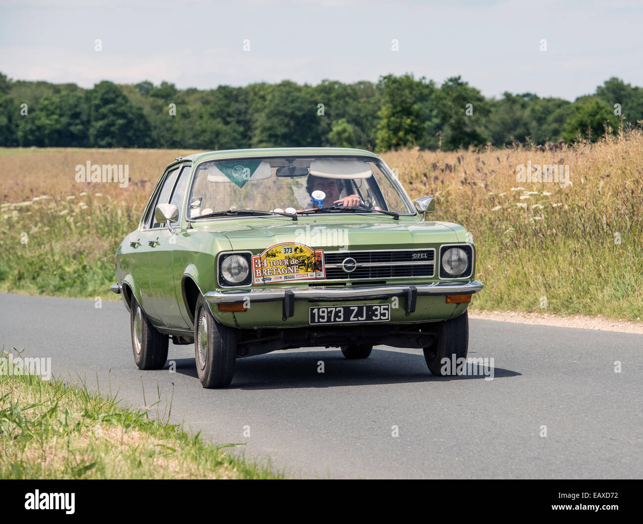 opel ascona a12ls of 1973 in the tour de bretagne 2014 france stock photo royalty free image. Black Bedroom Furniture Sets. Home Design Ideas