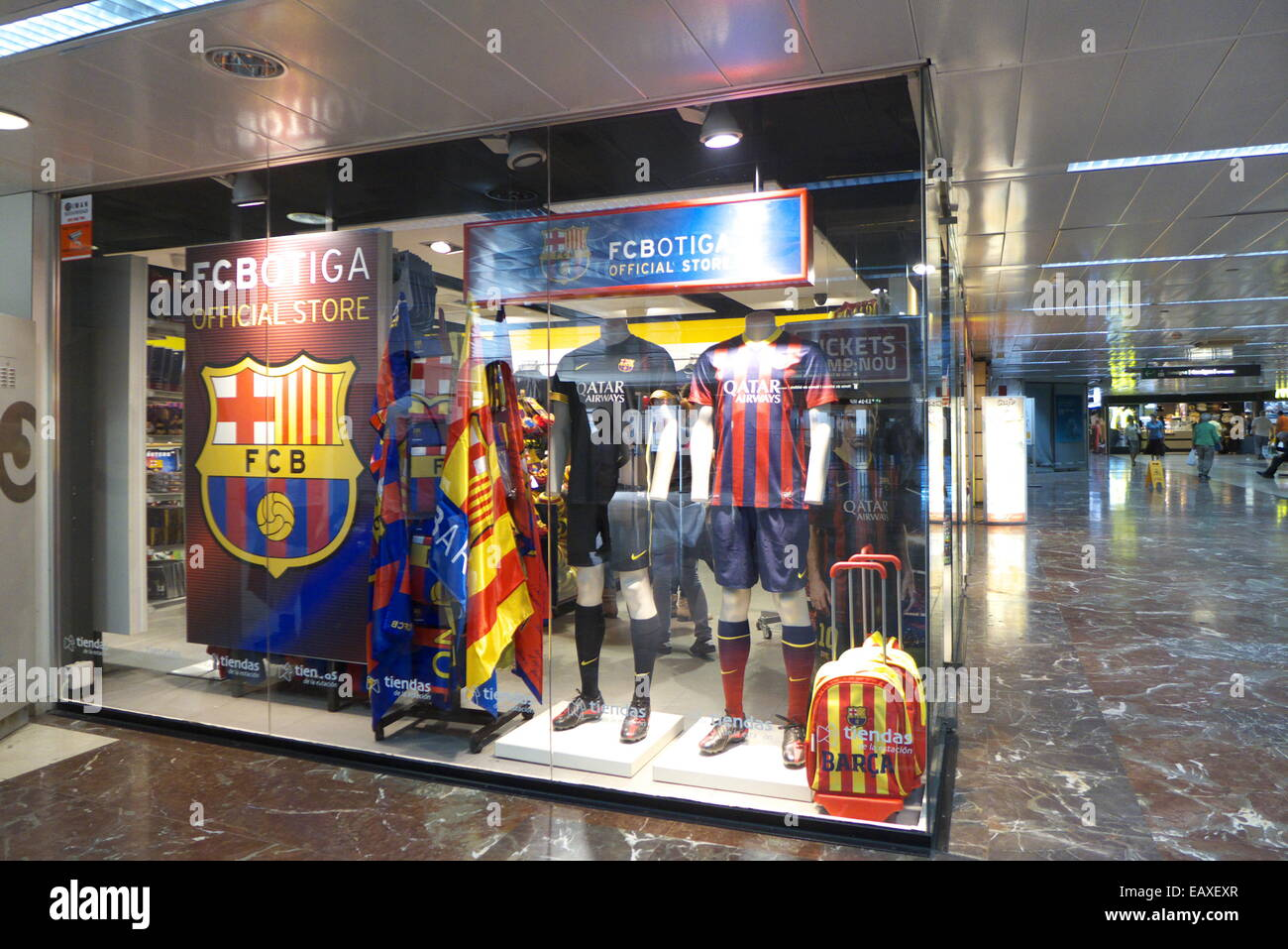 spain catalonia barcelona fc barcelona fan club souvenirs shop stock photo royalty free image. Black Bedroom Furniture Sets. Home Design Ideas