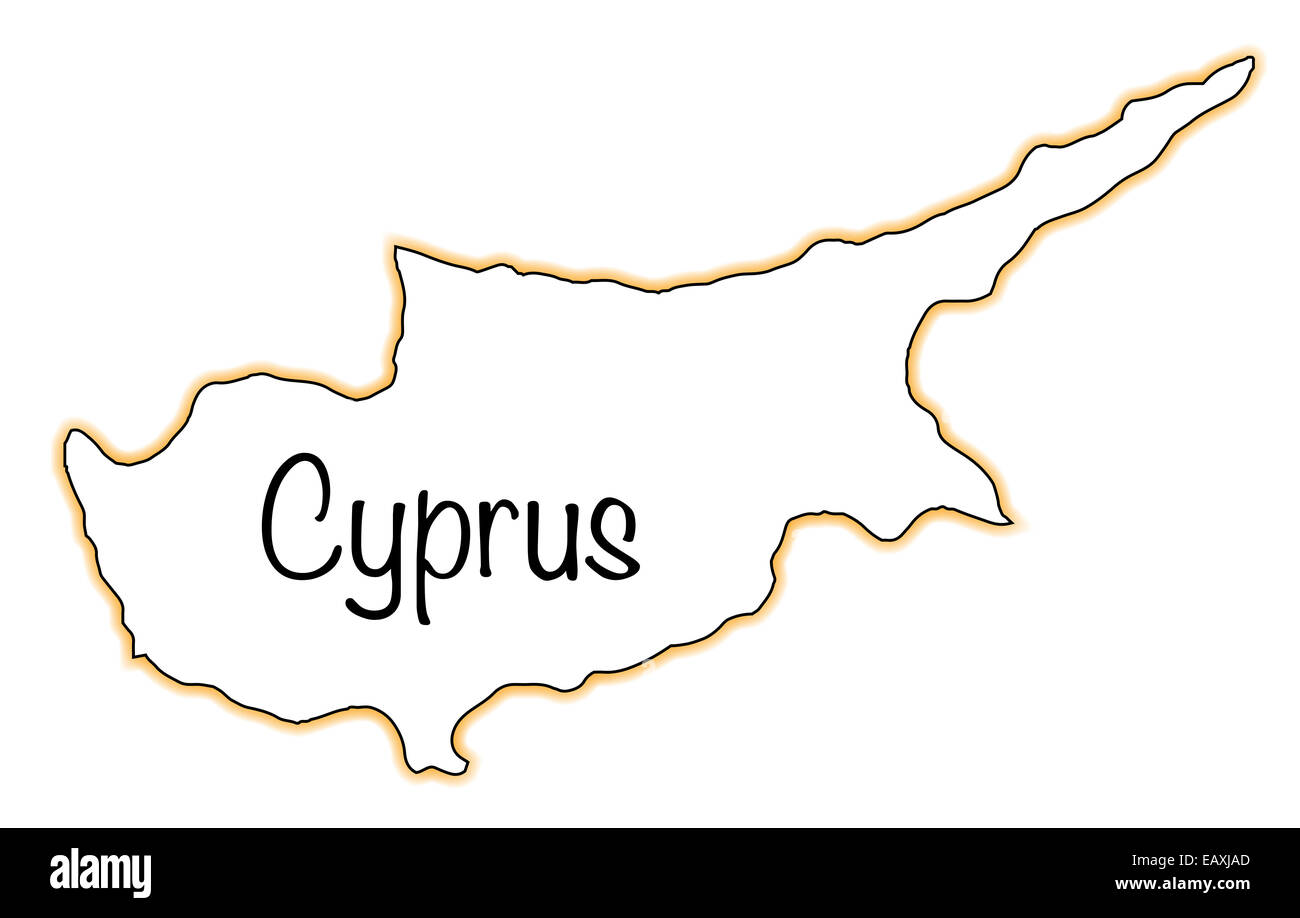 Outline Map Of Cyprus Over A White Background Stock Photo Royalty - Cyprus blank map