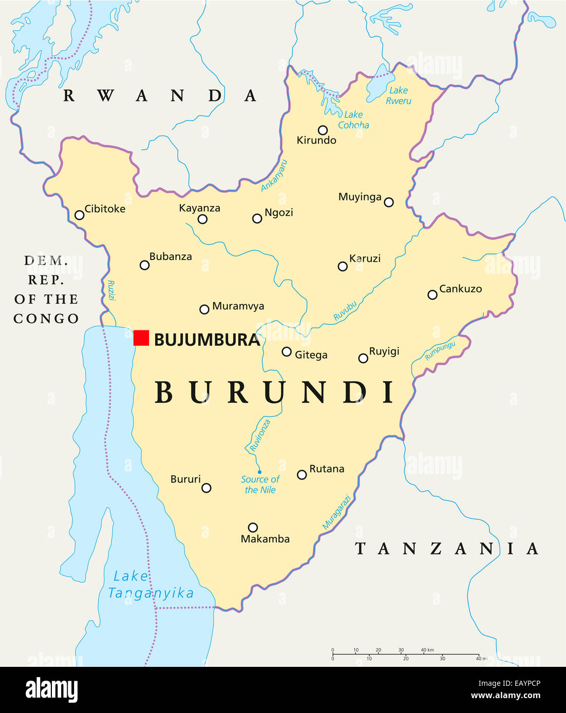 Burundi Political Map With Capital Bujumbura National Borders - bujumbura map