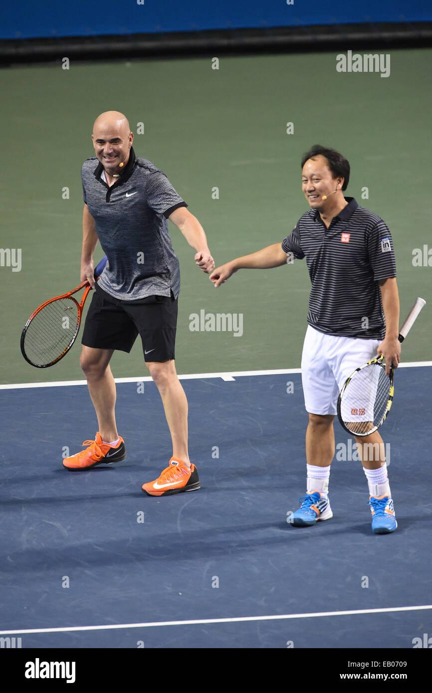 Tokyo Japan 22nd Nov 2014 L R Andre Agassi Michael Chang