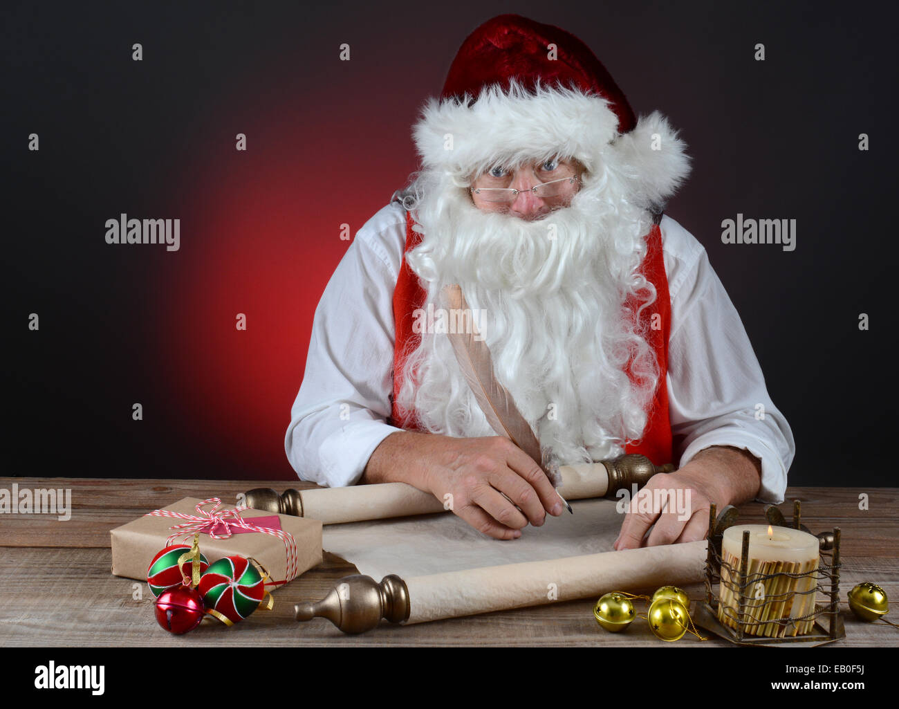 santa claus checking his naughty and nice list on a scroll of