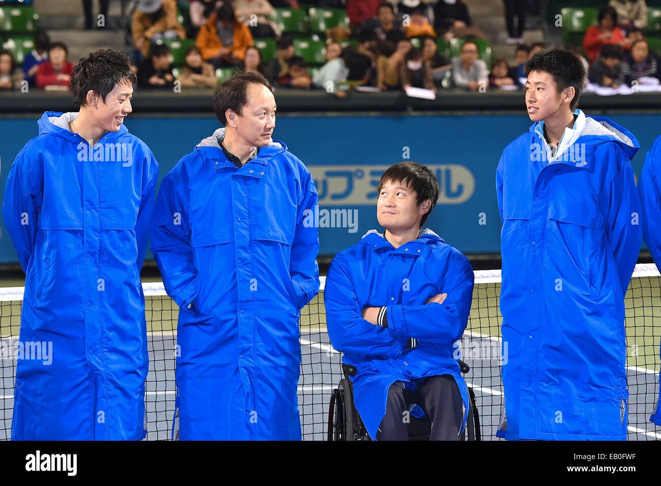 L R Kei Nishikori JPN Michael Chang USA Shingo Kunieda