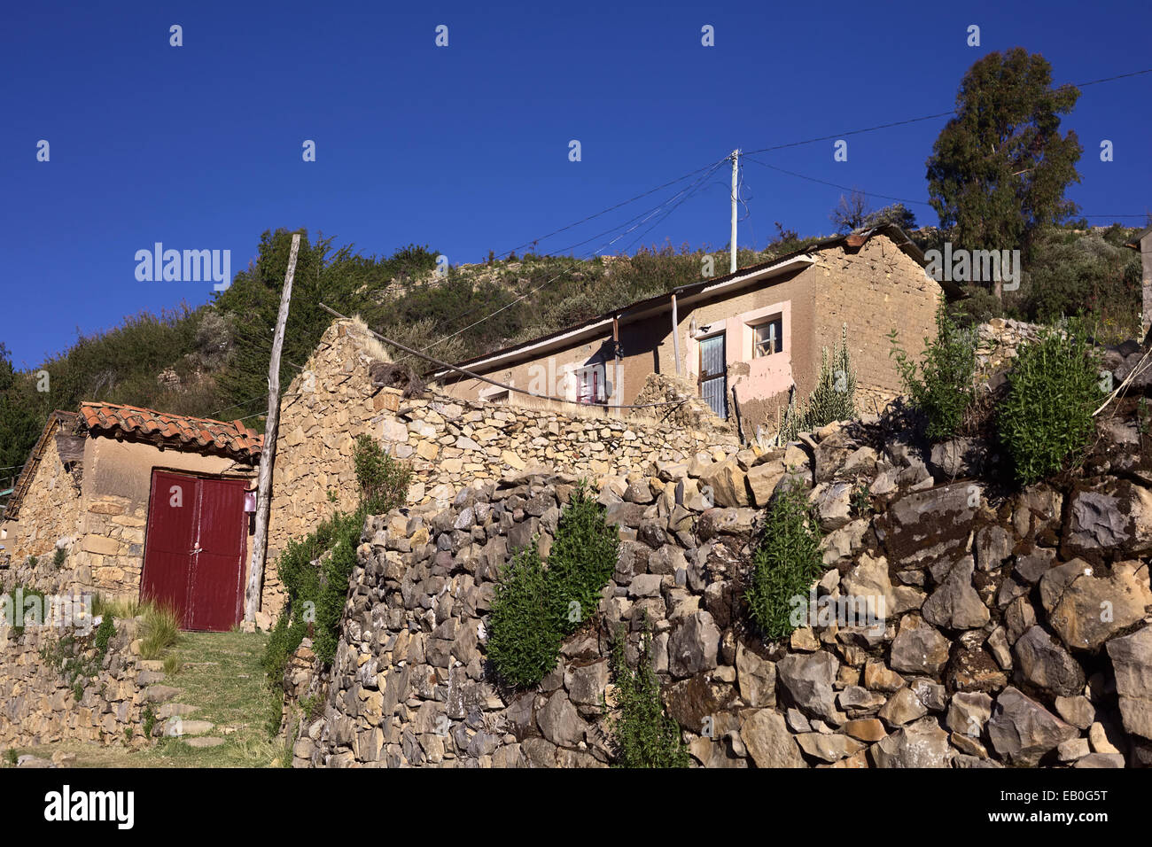 Old stone walls and an adobe brick house in the small for American brick and stone