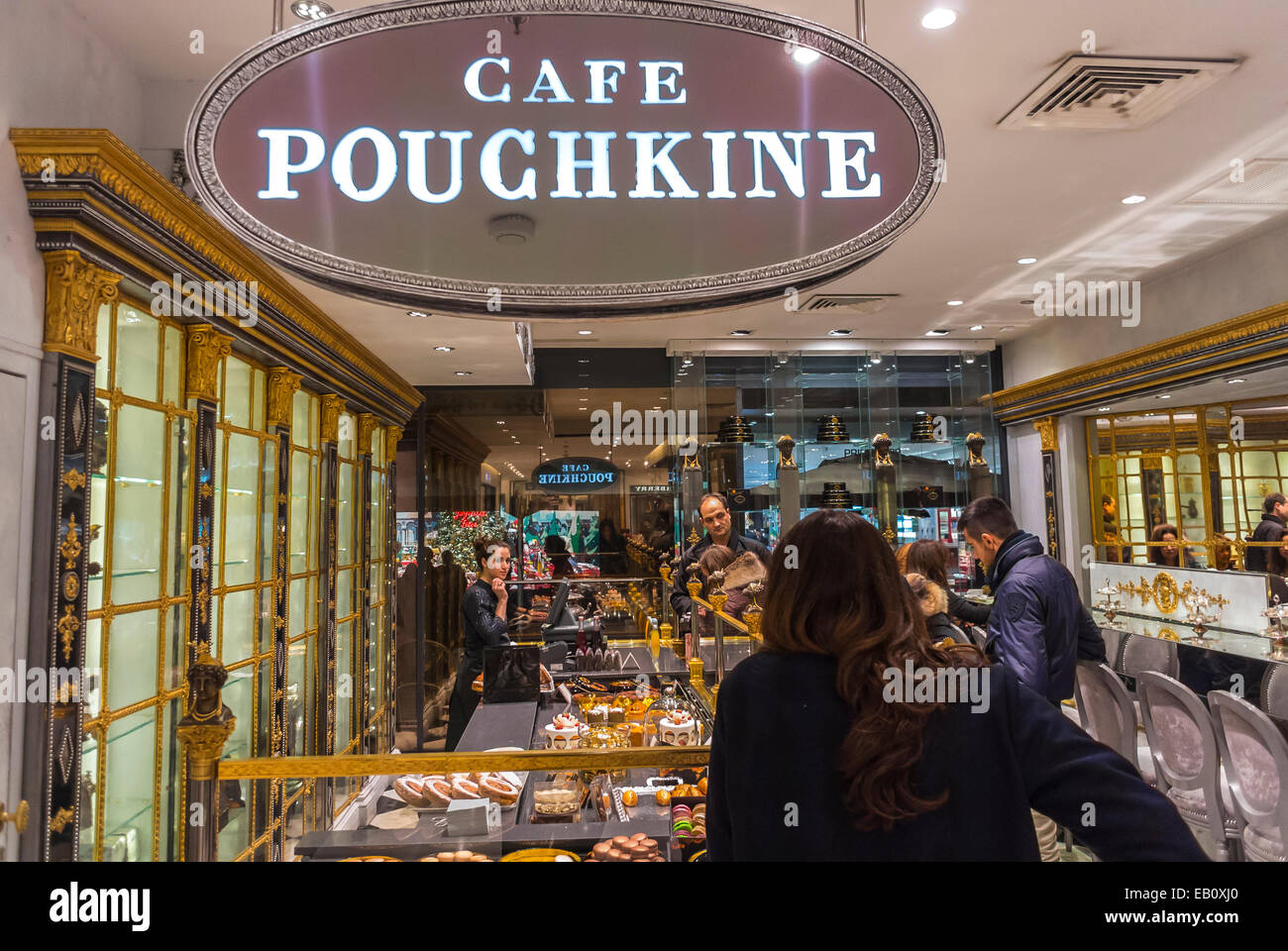 paris france people inside cafe pouchkine russian bakery shop stock photo royalty free. Black Bedroom Furniture Sets. Home Design Ideas