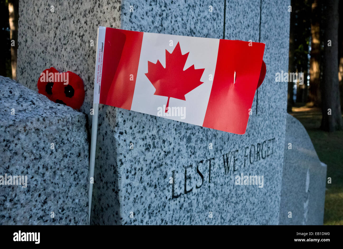 small canadian flag and poppies on cenotaph memorial for
