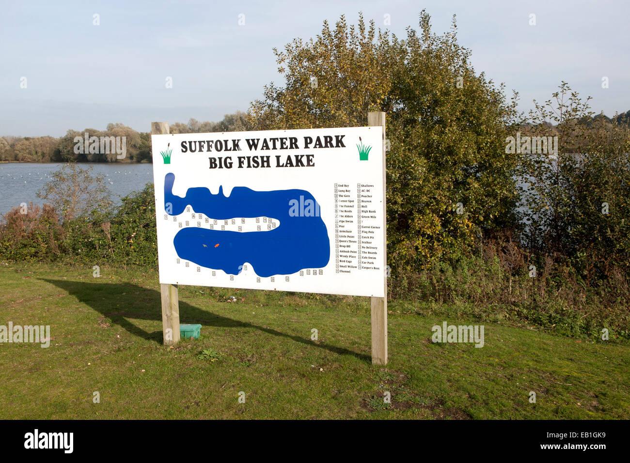 Sign showing map of big fish lake at suffolk water park for Big fish lake