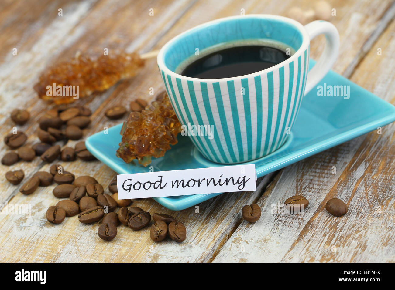 Good Morning Vintage Photos : Good morning card with vintage cup of coffee on rustic