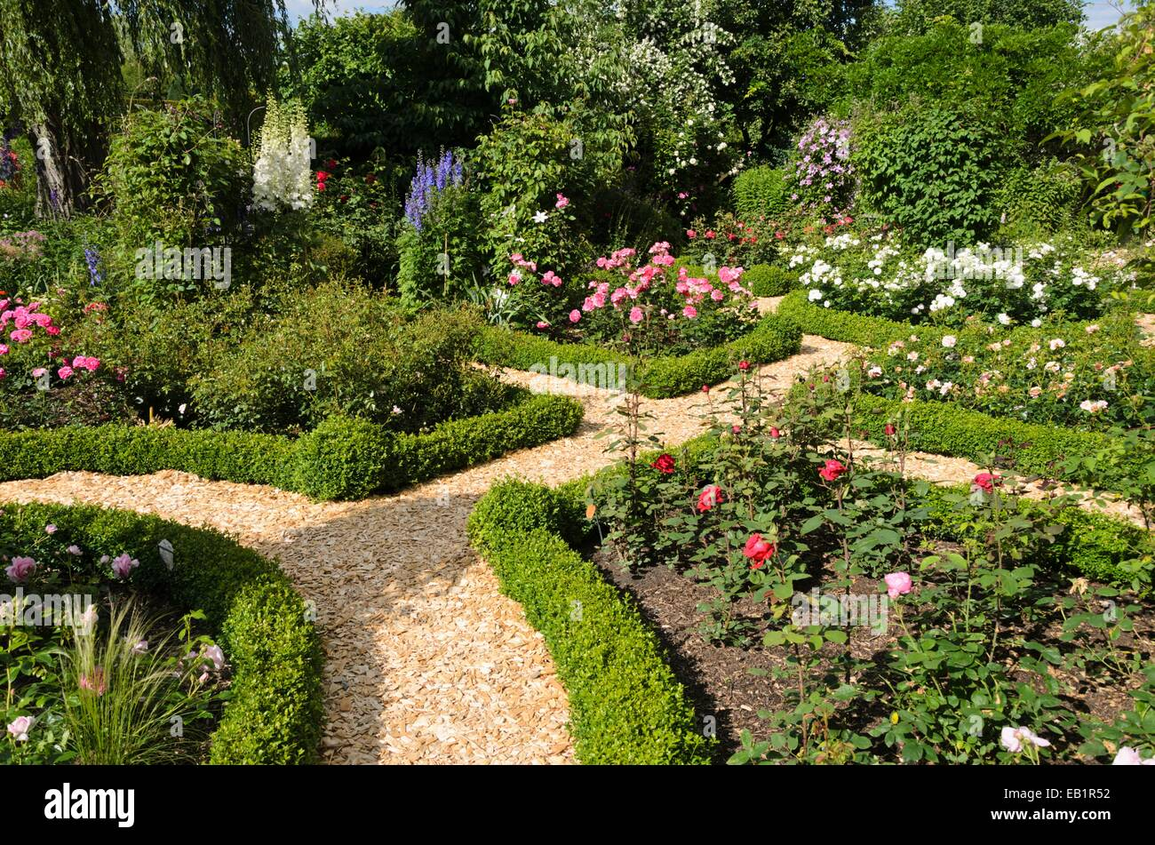 Boxwood hedges in a rose garden Design Marianne and Detlef Ldke