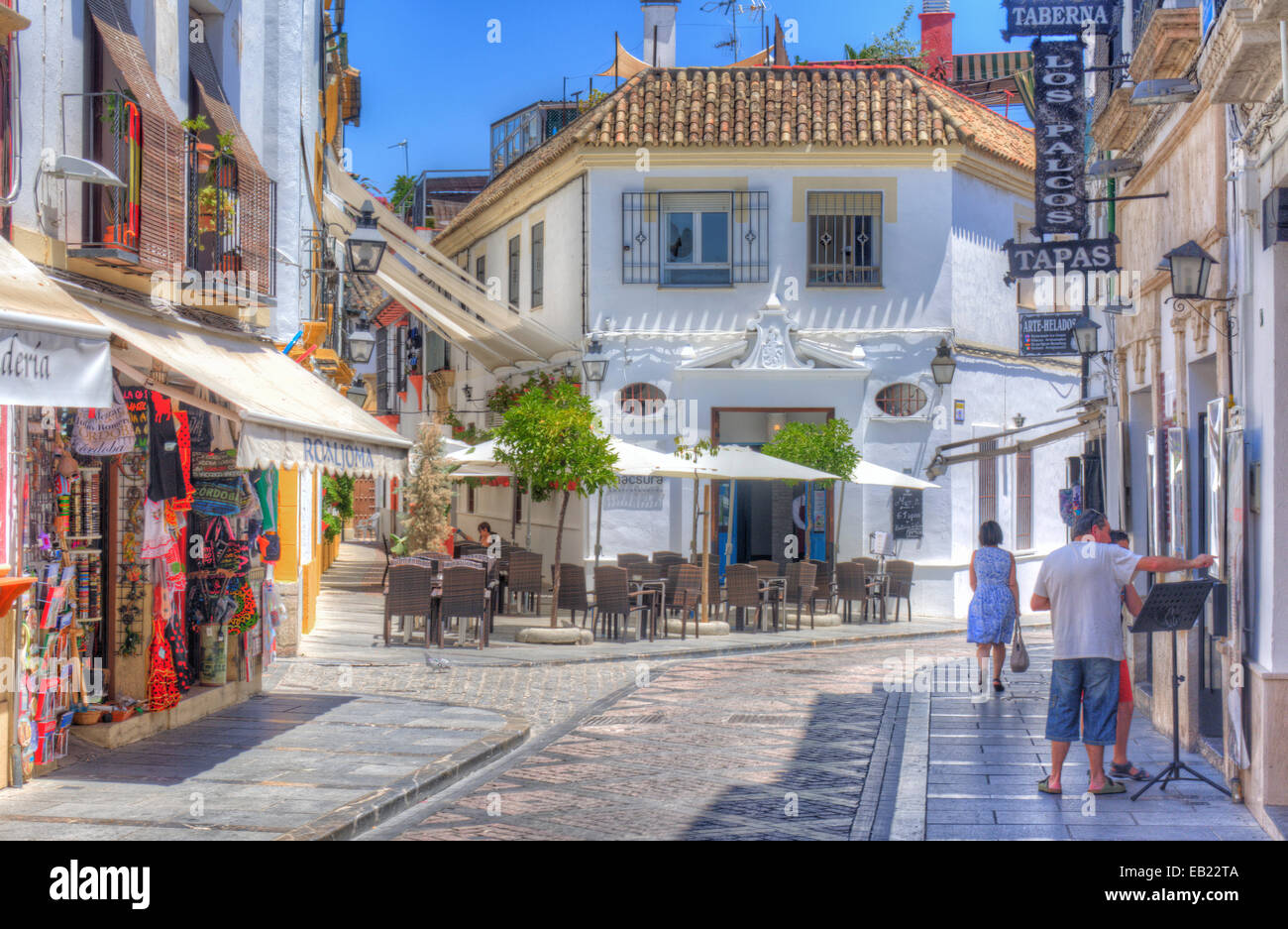 HDR of the ancient narrow streets and houses in the old Jewish Stock Photo, R...