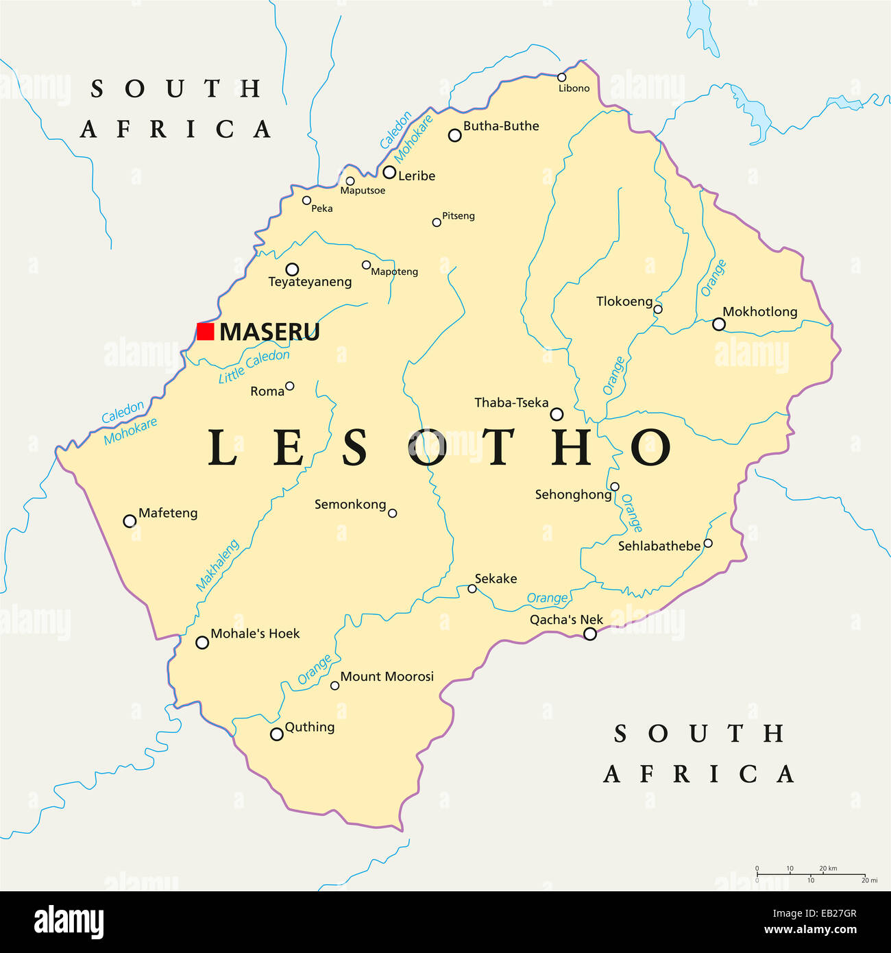 Lesotho Political Map With Capital Maseru National Borders Stock - Lesotho map