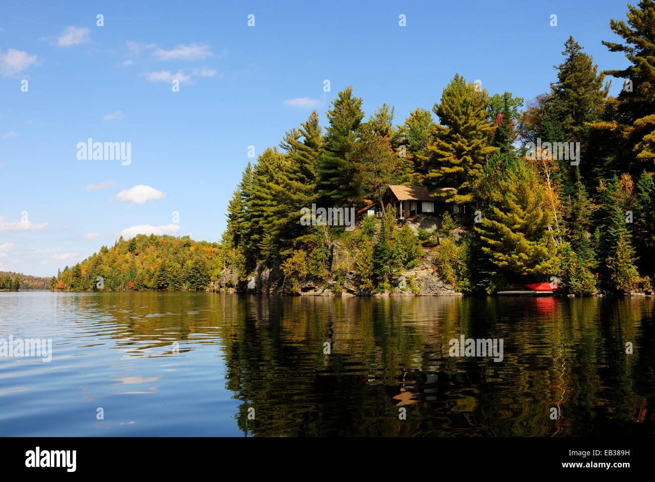 Log cabin in the woods by a lake - House On A Rock Surrounded By Woods Above Canoe Lake Algonquin Provincial Park
