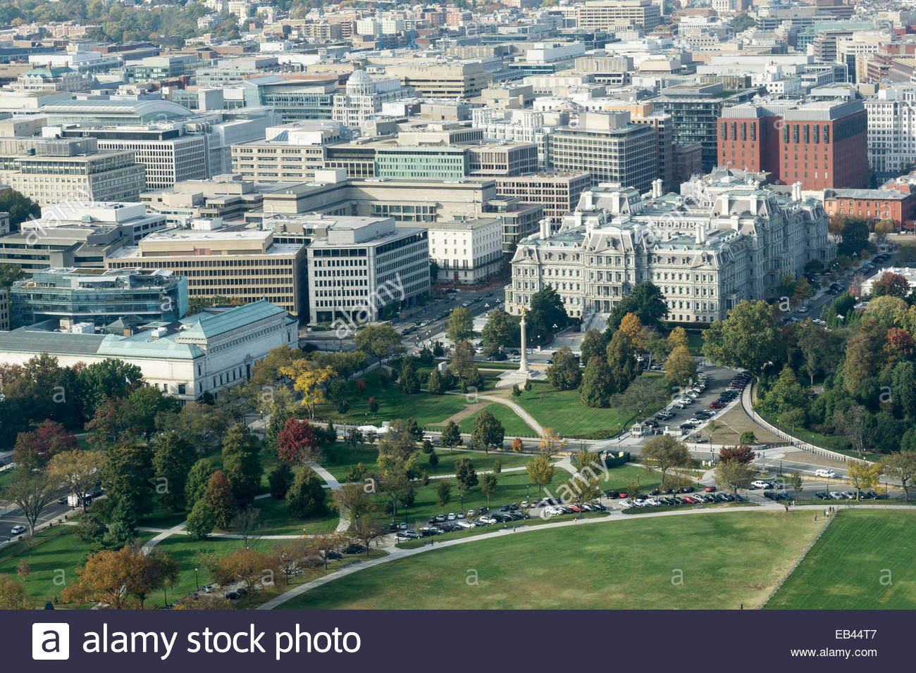 Executive Office View aerial view of the old and new executive office buildings in stock