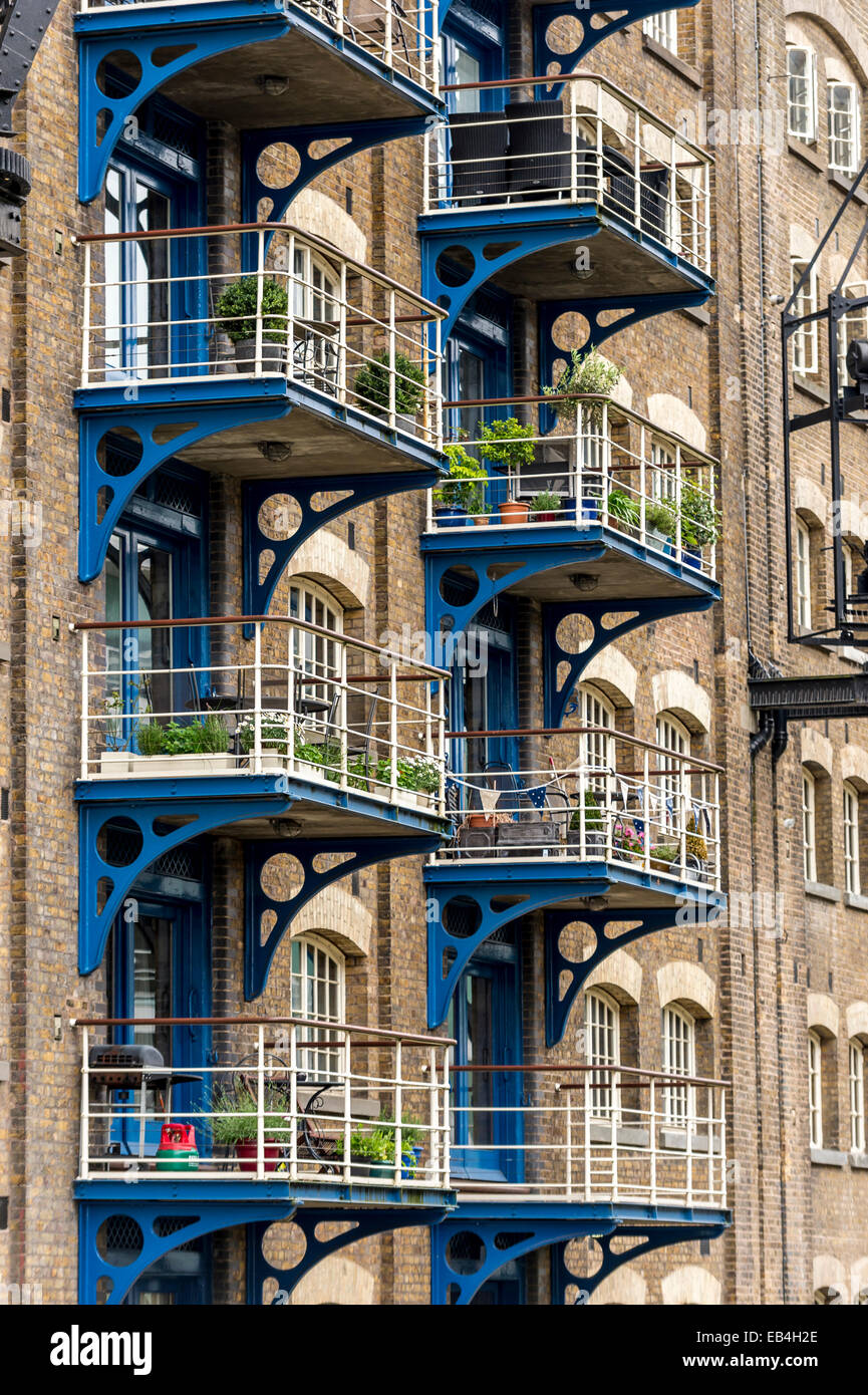 Balconies of converted warehouse flats in Shad Thames, Dockland.