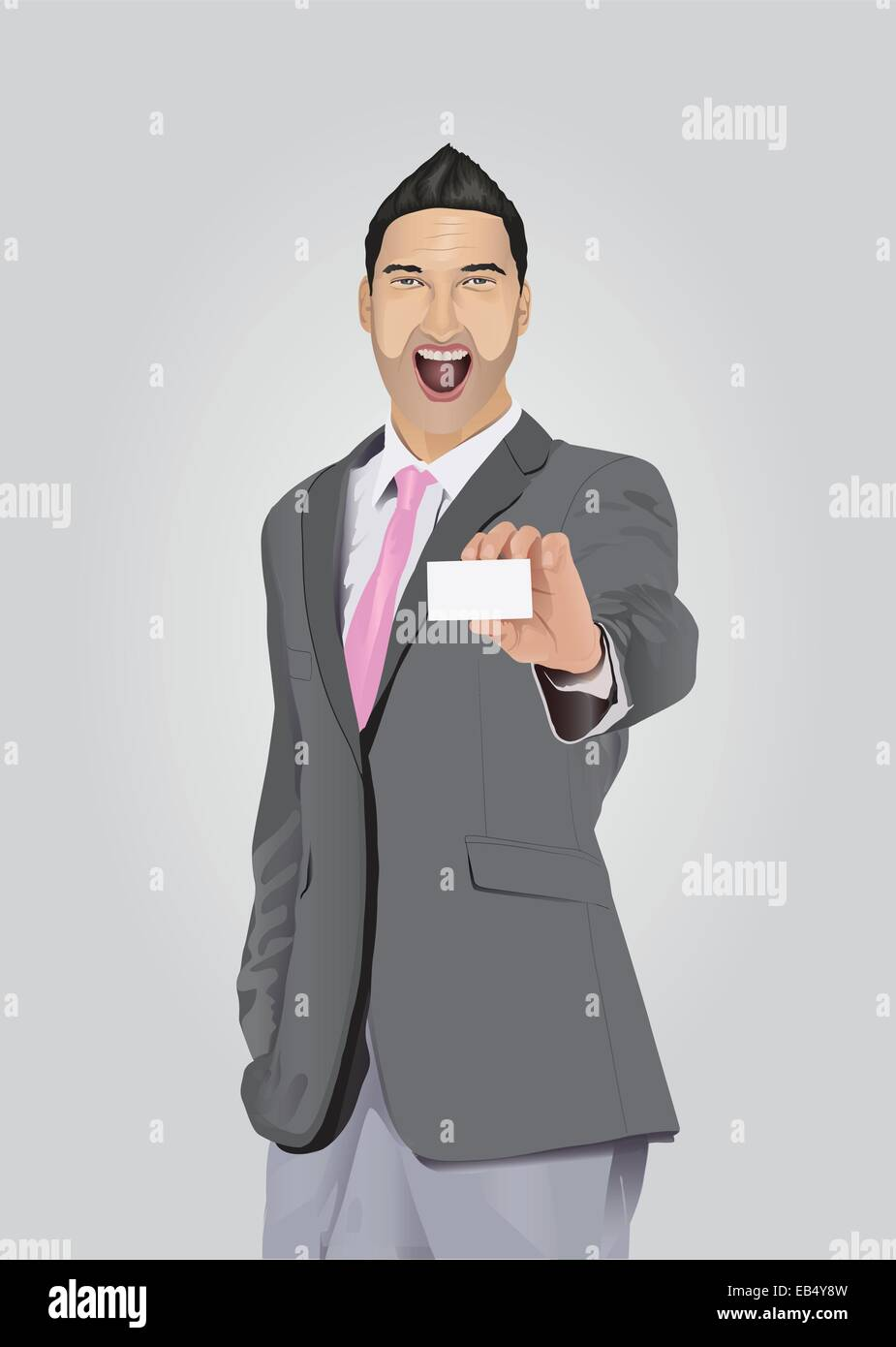 Excited businessman with facial hair showing business card Stock ...