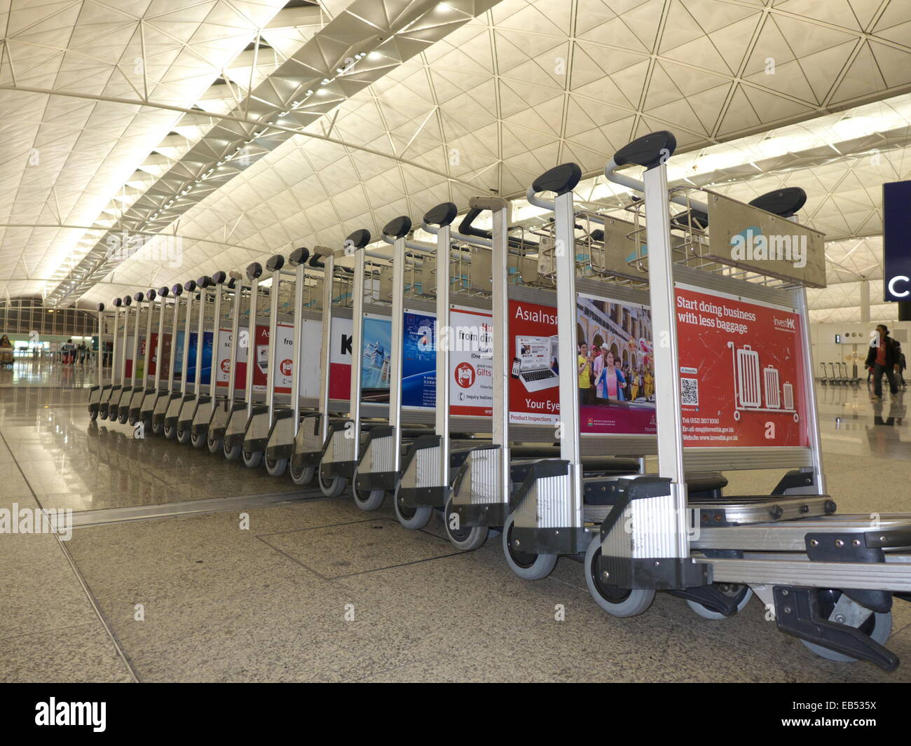 china hong kong airport departure hall trolley push cart. Black Bedroom Furniture Sets. Home Design Ideas