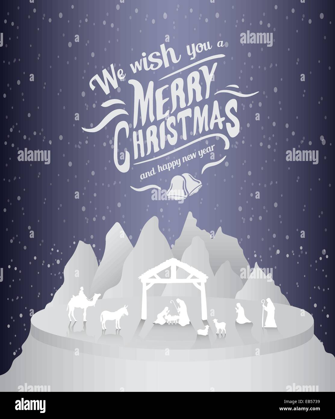 Merry christmas vector with nativity scene Stock Vector Art ...