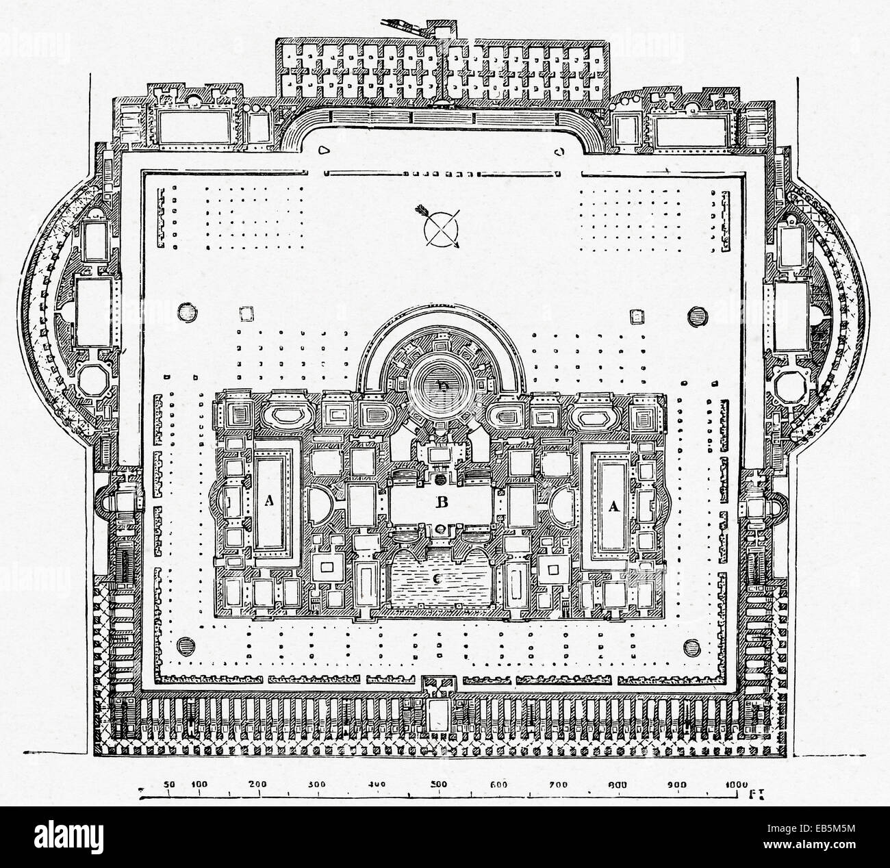 Stock Photo   The Baths Of Caracalla, Rome, Italy. A Reconstruction Of The  Floor Plan Of The Bath Complex