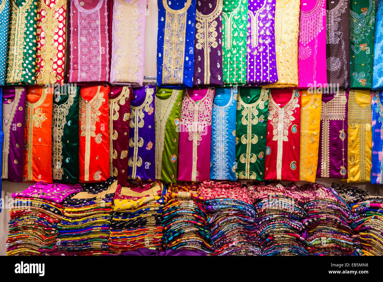 Colorful clothes in a store at the Souq Muttrah, Muscat ...