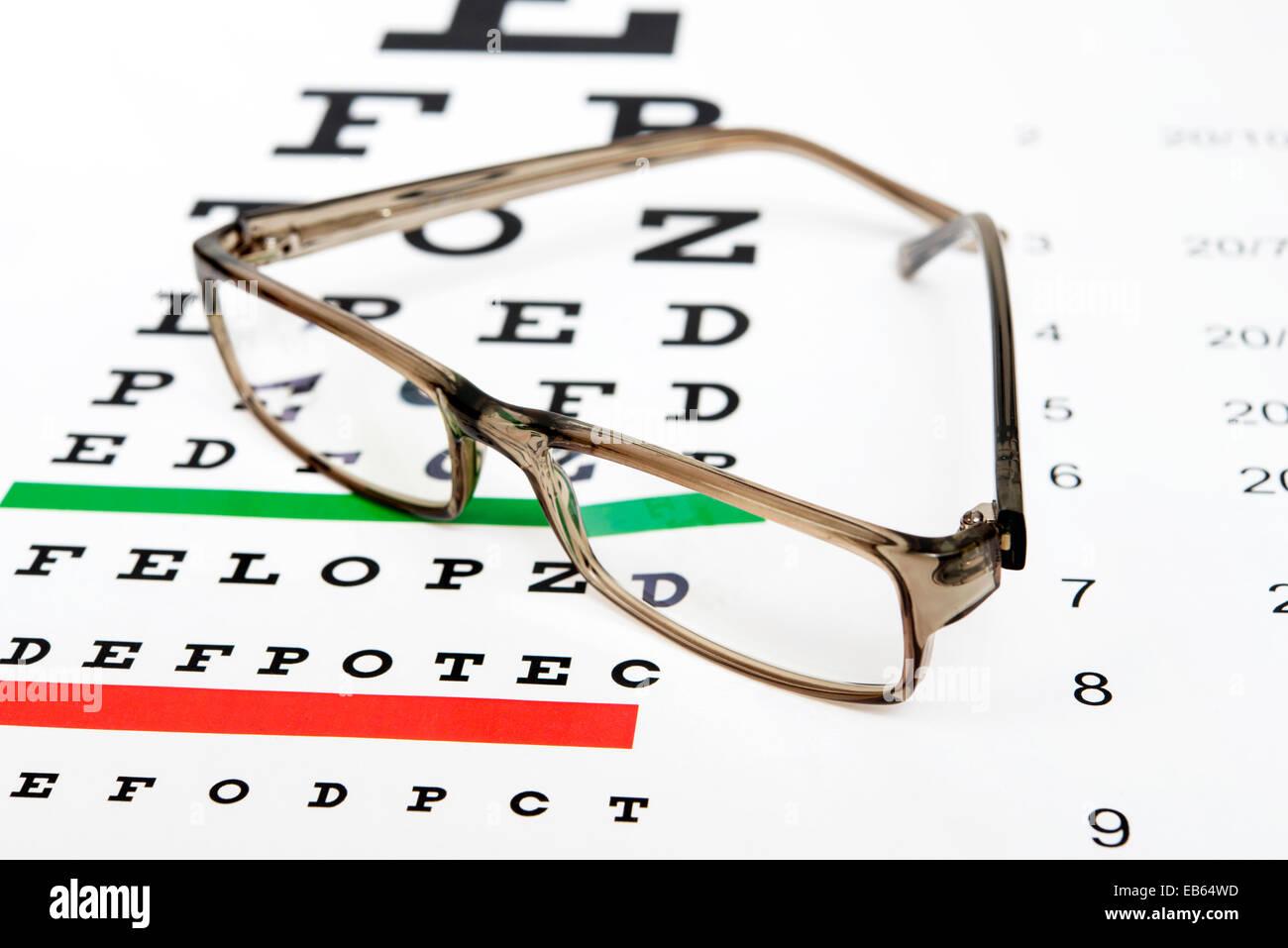Eyeglasses on the eye chart background stock photo 75738249 alamy eyeglasses on the eye chart background nvjuhfo Choice Image