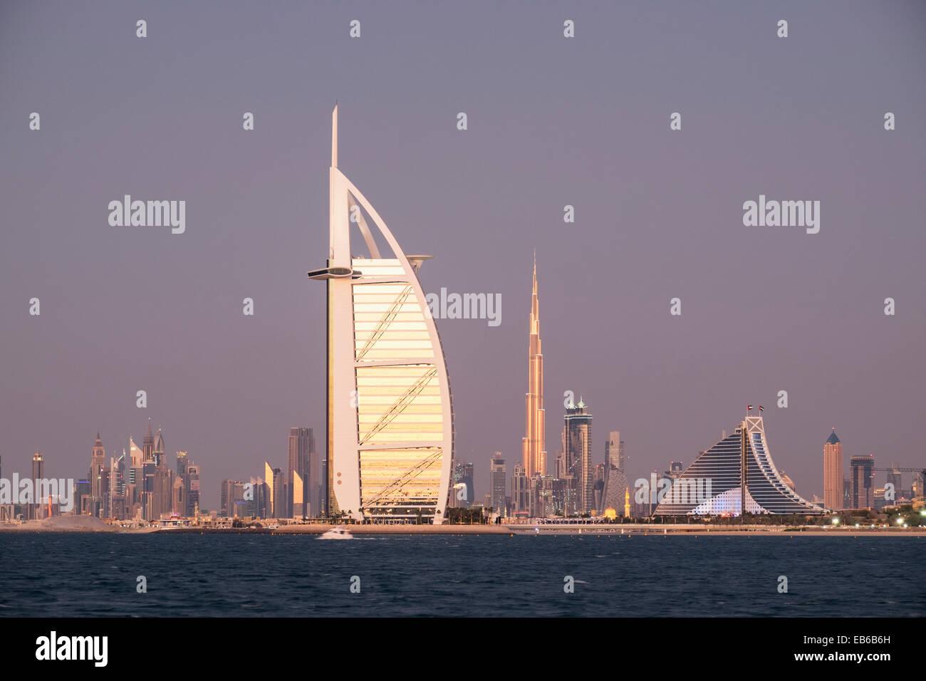 Skyline Of Dubai With Burj Al Arab Hotel And Khalifa Tower In Distance United Emirates