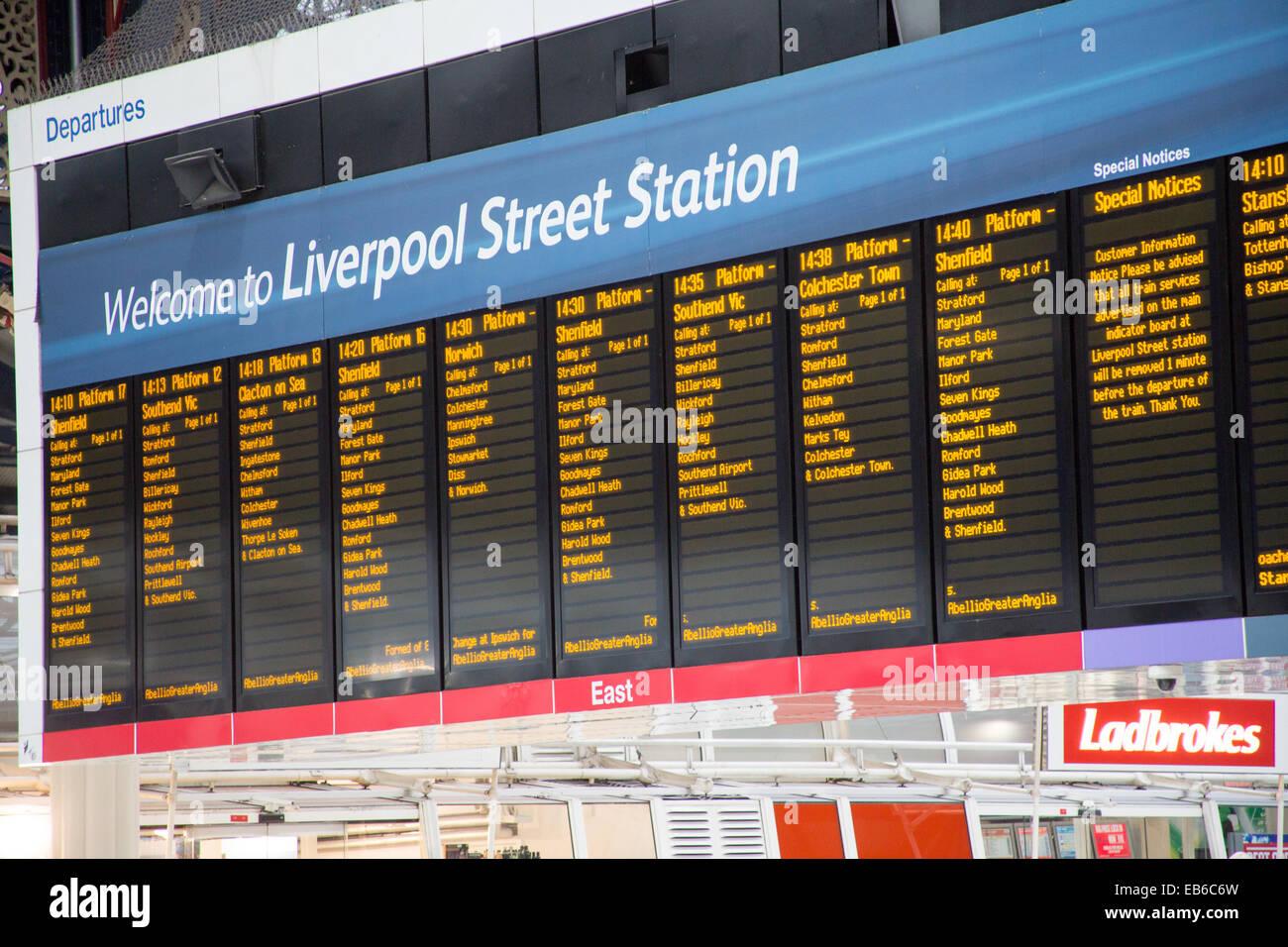 London Liverpool Street Railway Station Departure Board