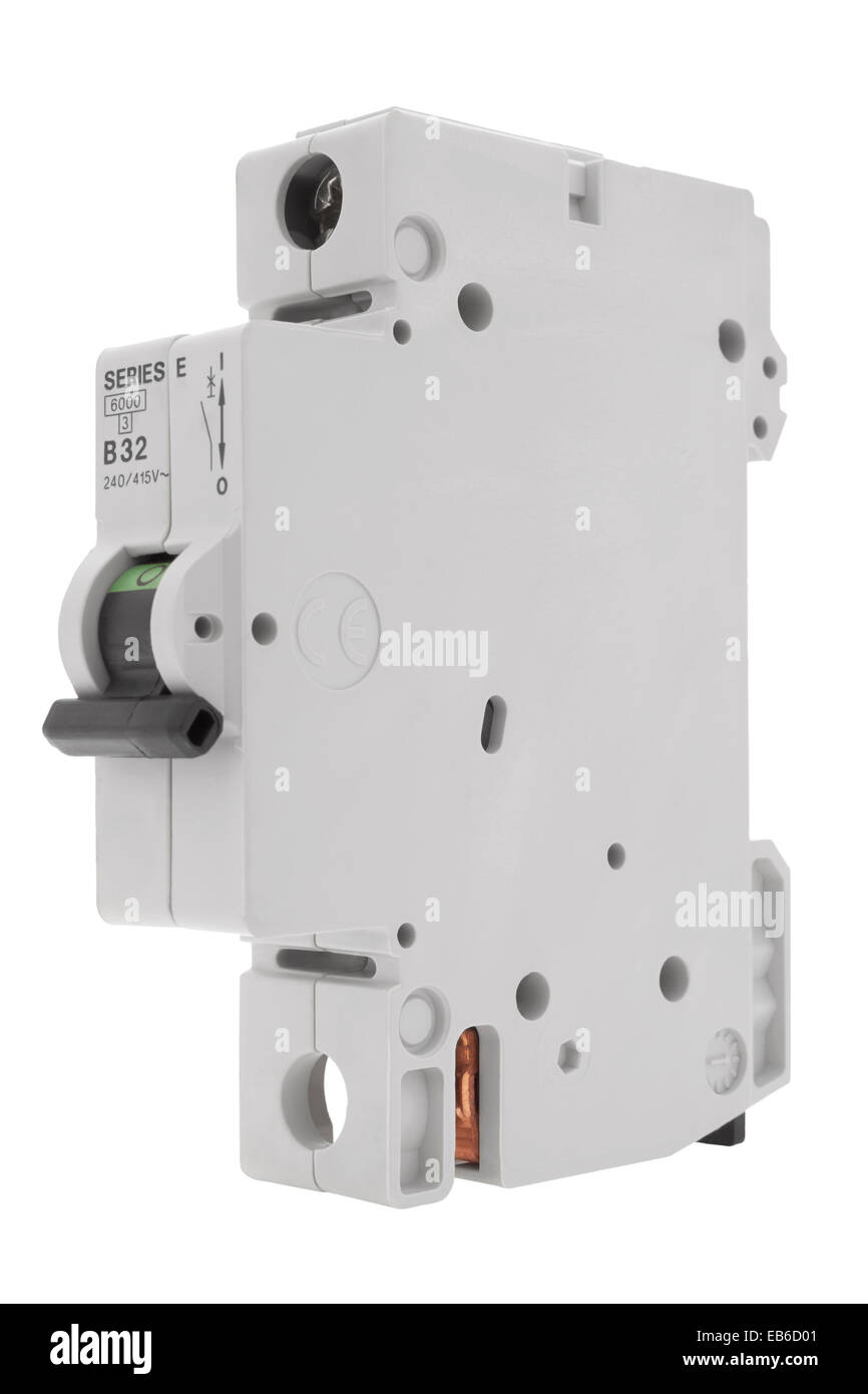 Fuse Box Switch Is Red : Electrical circuit breaker fuse box switch on white