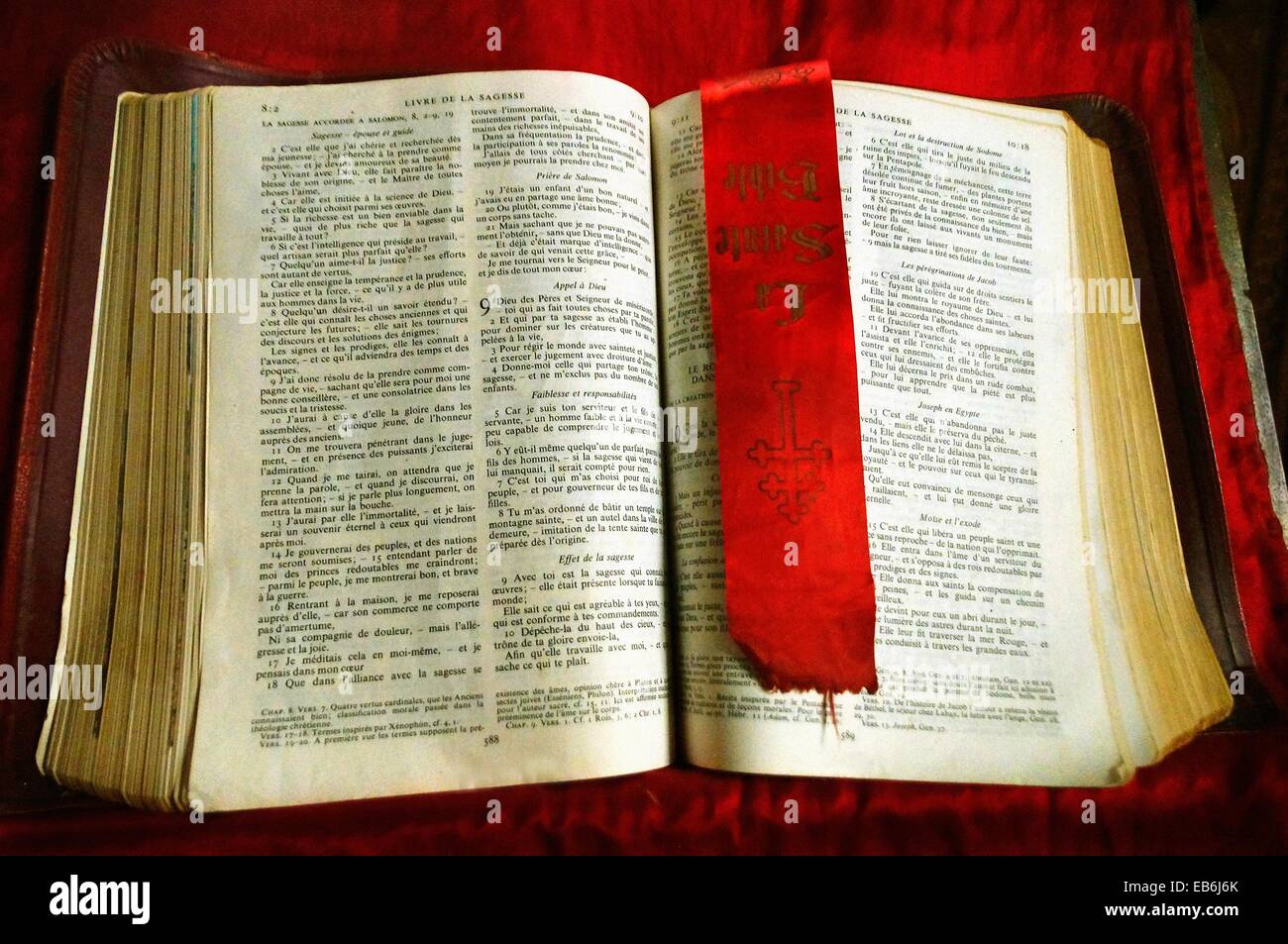 the holy bible in french religion christian roman catholic stock