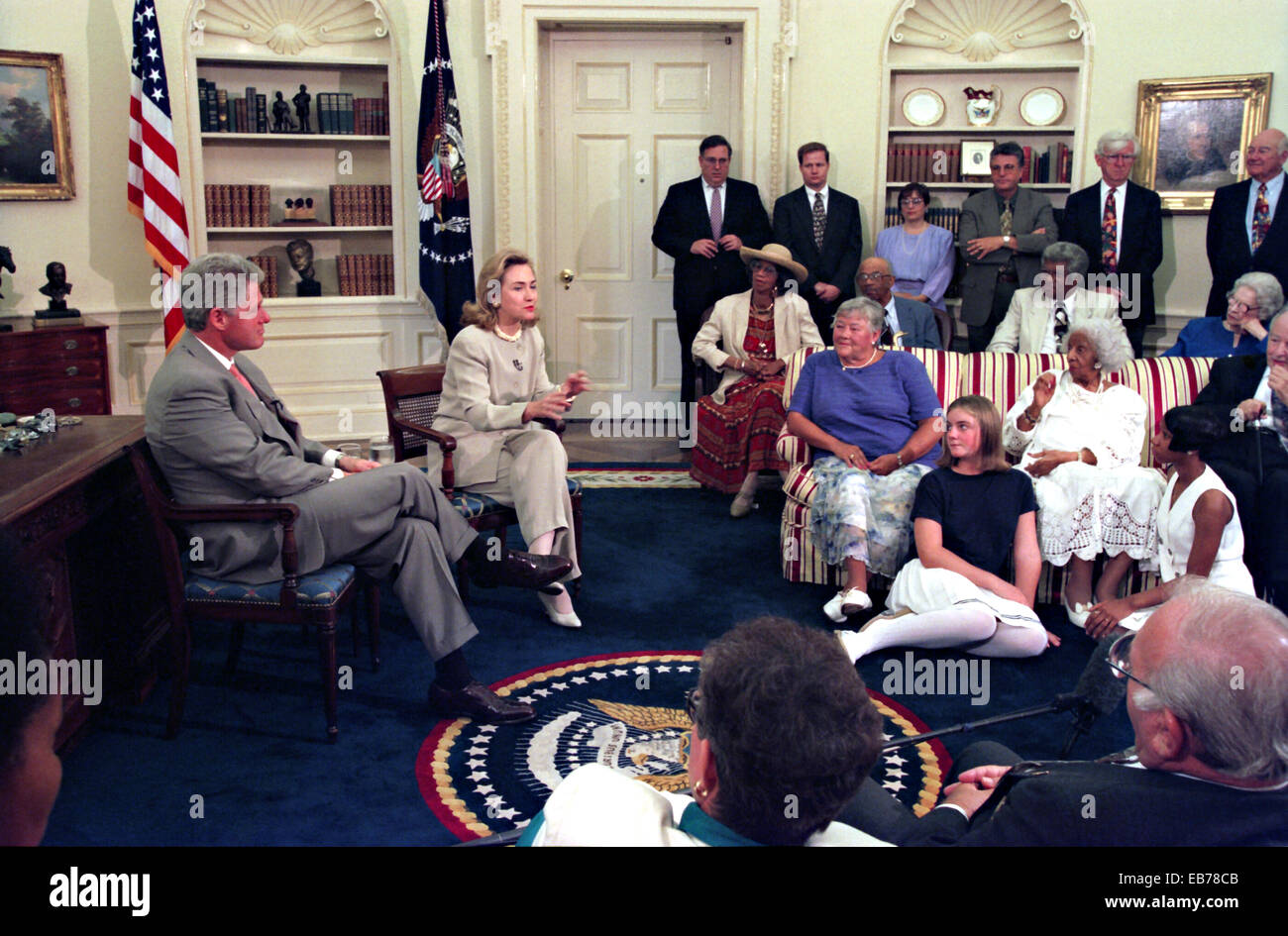 stock photo us president bill clinton and first lady hillary clinton during the weekly radio address on social security in the oval office of the white bill clinton oval office