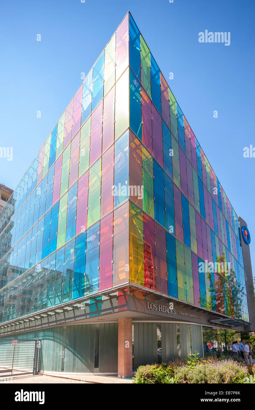 Modern Architecture Glass santiago chile los heroes building colorful colourful modern stock