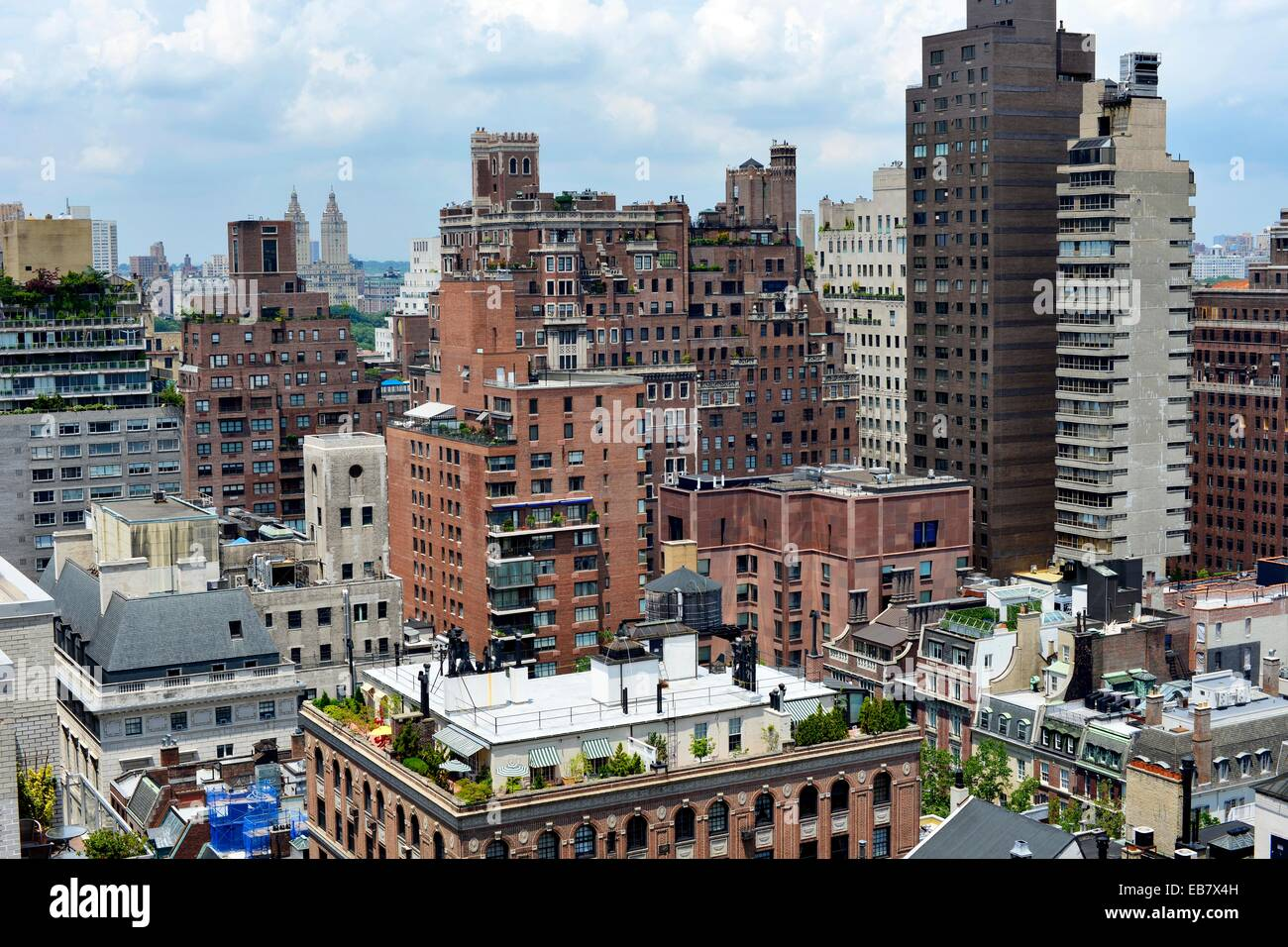 stock photo upper east side manhattan nyc view looking west terraced penthouse on top of foreground building