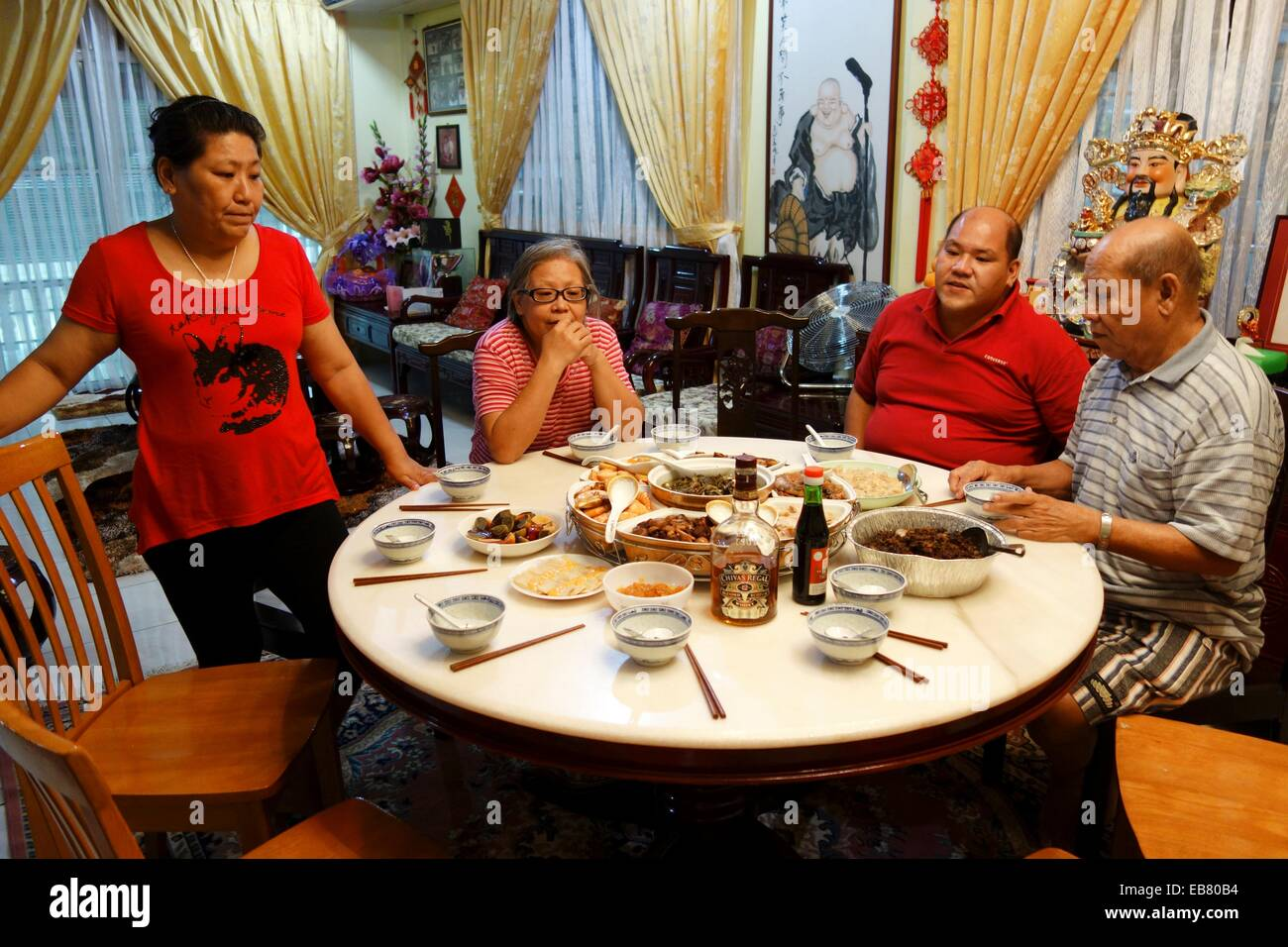 a typical chinese new year eve family gathering dinner in kuching sarawak malaysia - Chinese New Year Dinner