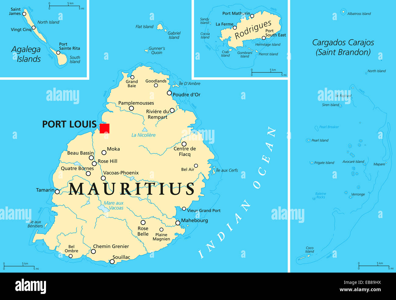 Mauritius Political Map With Capital Port Louis The Islands Stock - Political map of mauritius
