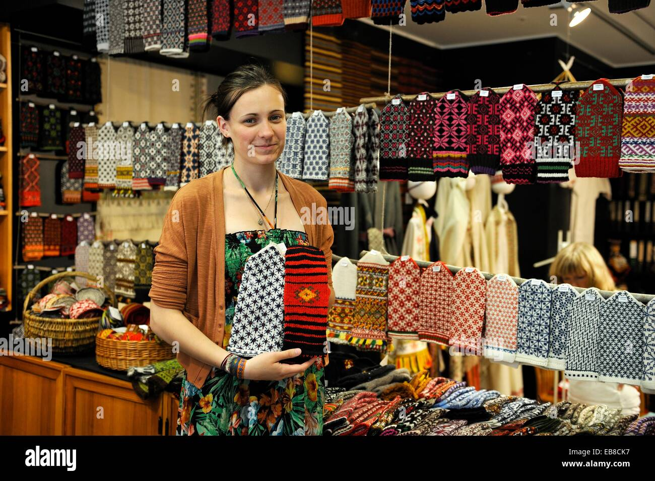 young s assistant girl in a traditional wool knitting shop stock photo young s assistant girl in a traditional wool knitting shop riga baltic region northern europe