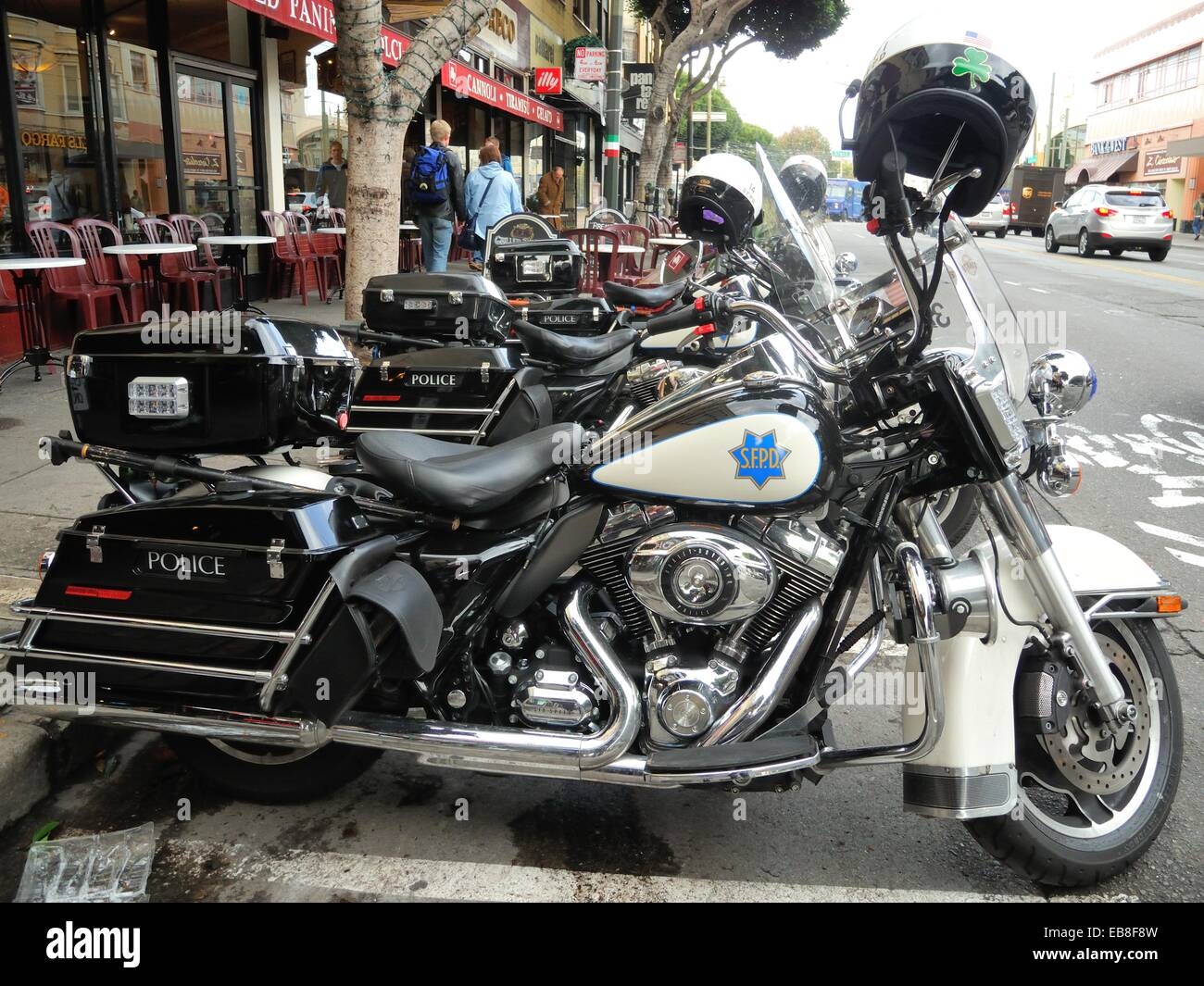 san francisco police harley davidson motorcycles parked on